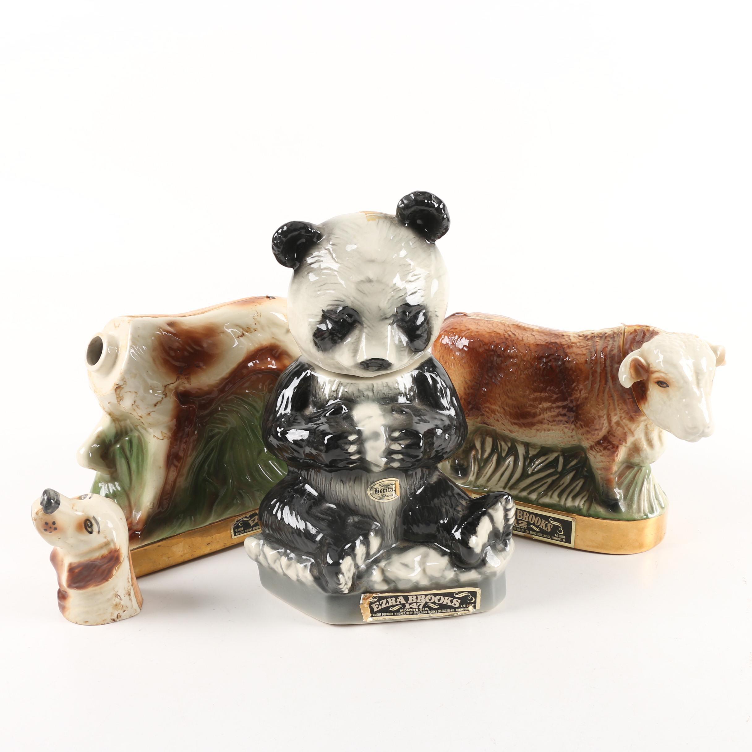 1970s Heritage China Ezra Brooks Whiskey Decanters