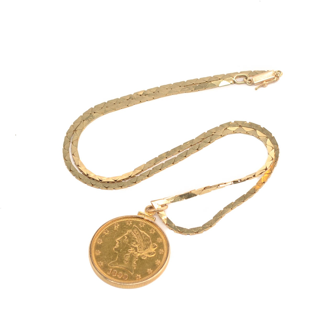 1899-S Liberty Head $10 Gold Coin with 14K Yellow Gold Bezel and Chain