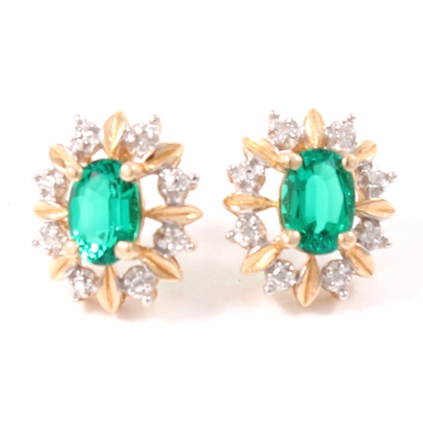 14K Yellow Gold Synthetic Emerald and Diamond Earrings