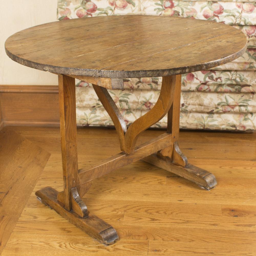 Antique Trestle Leg Wine Tasting Drop Leaf Wooden Table