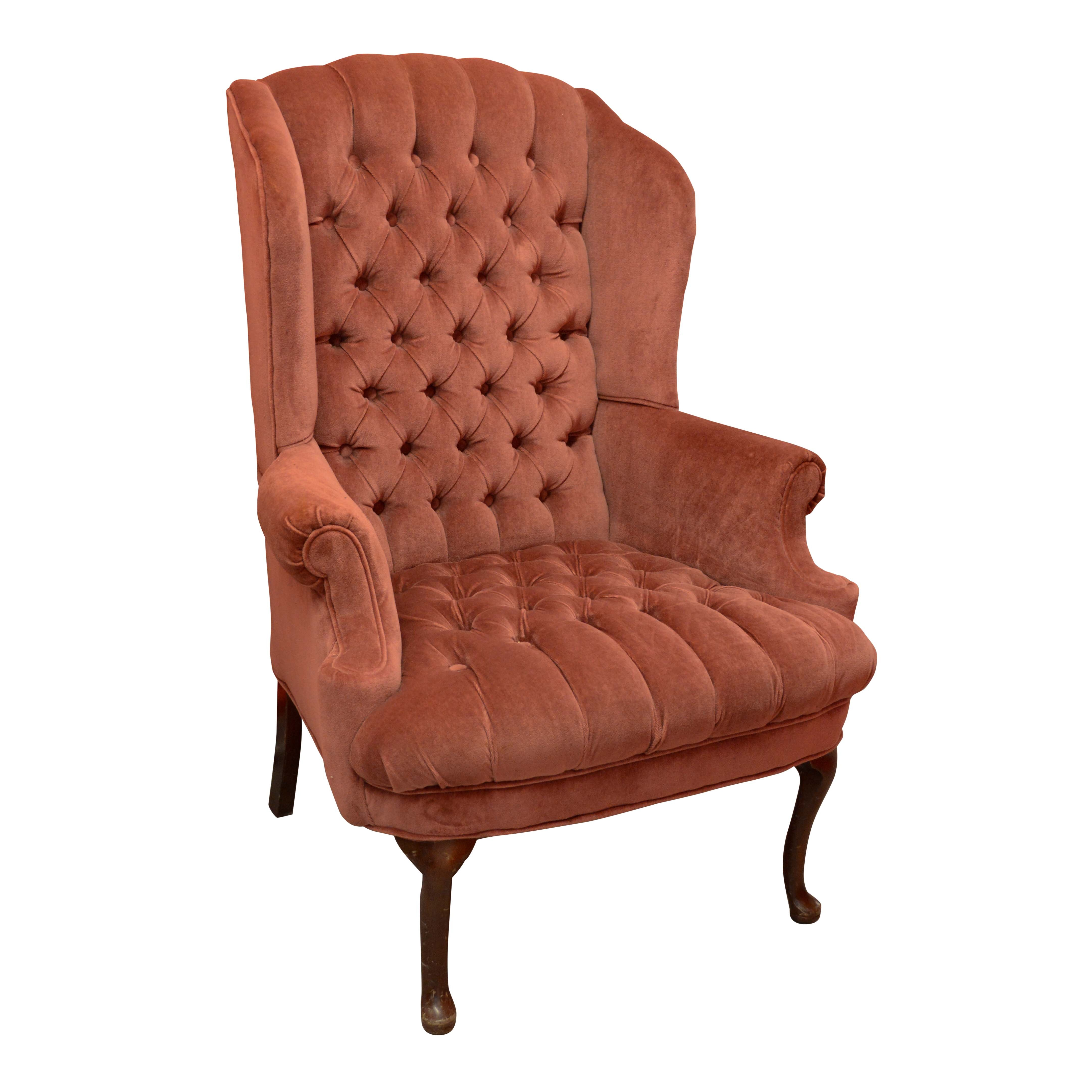 Rose Velour Chesterfield Style Wingback Chair