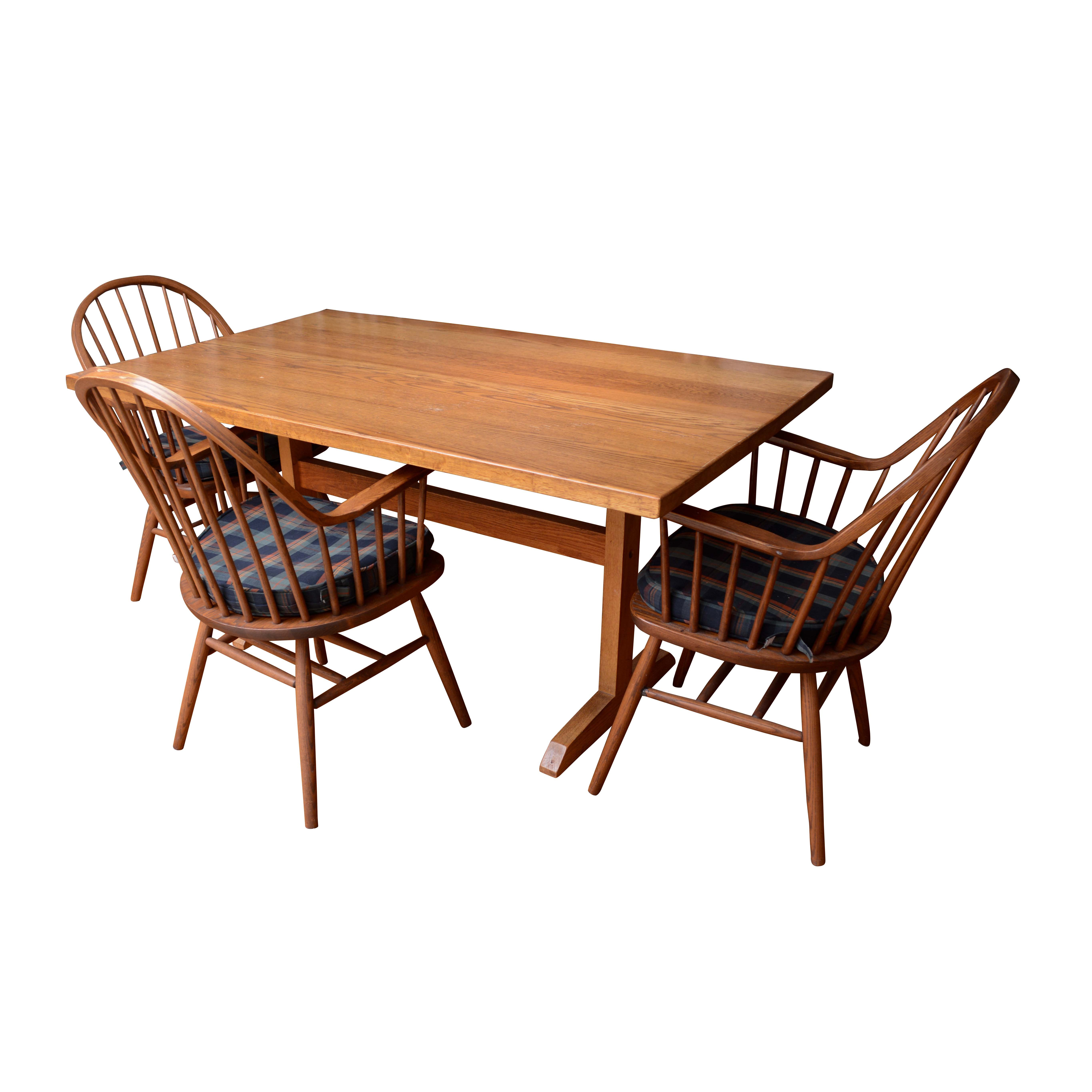 Trestle Leg Dining Table and Windsor Style Dining Chairs