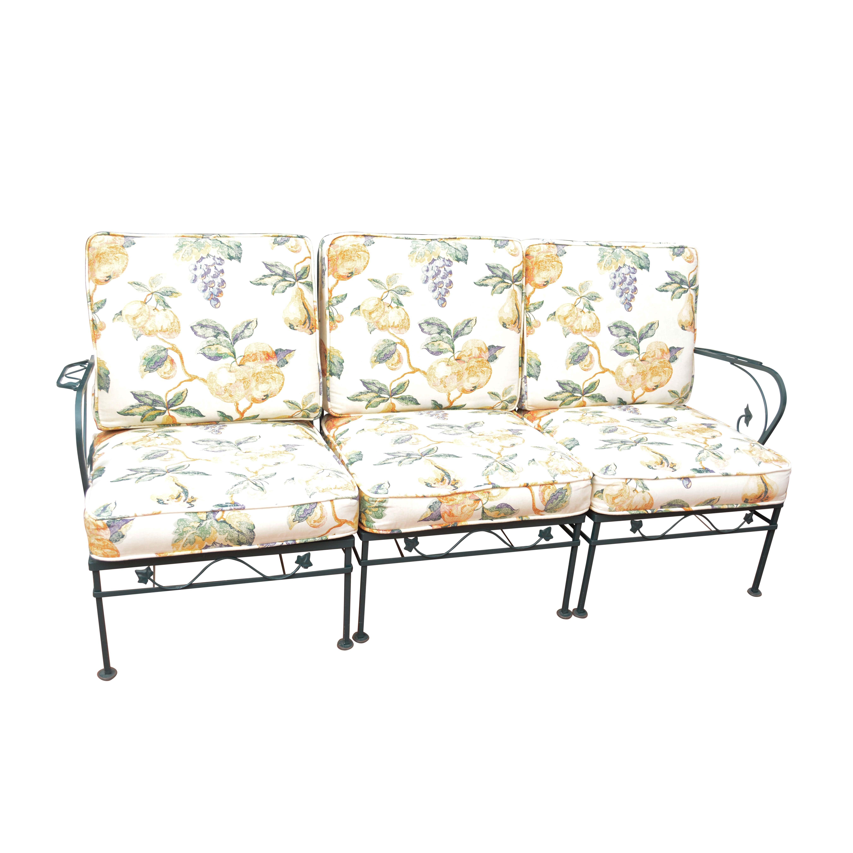 Foliate Motif Metal Patio Sectional Sofa