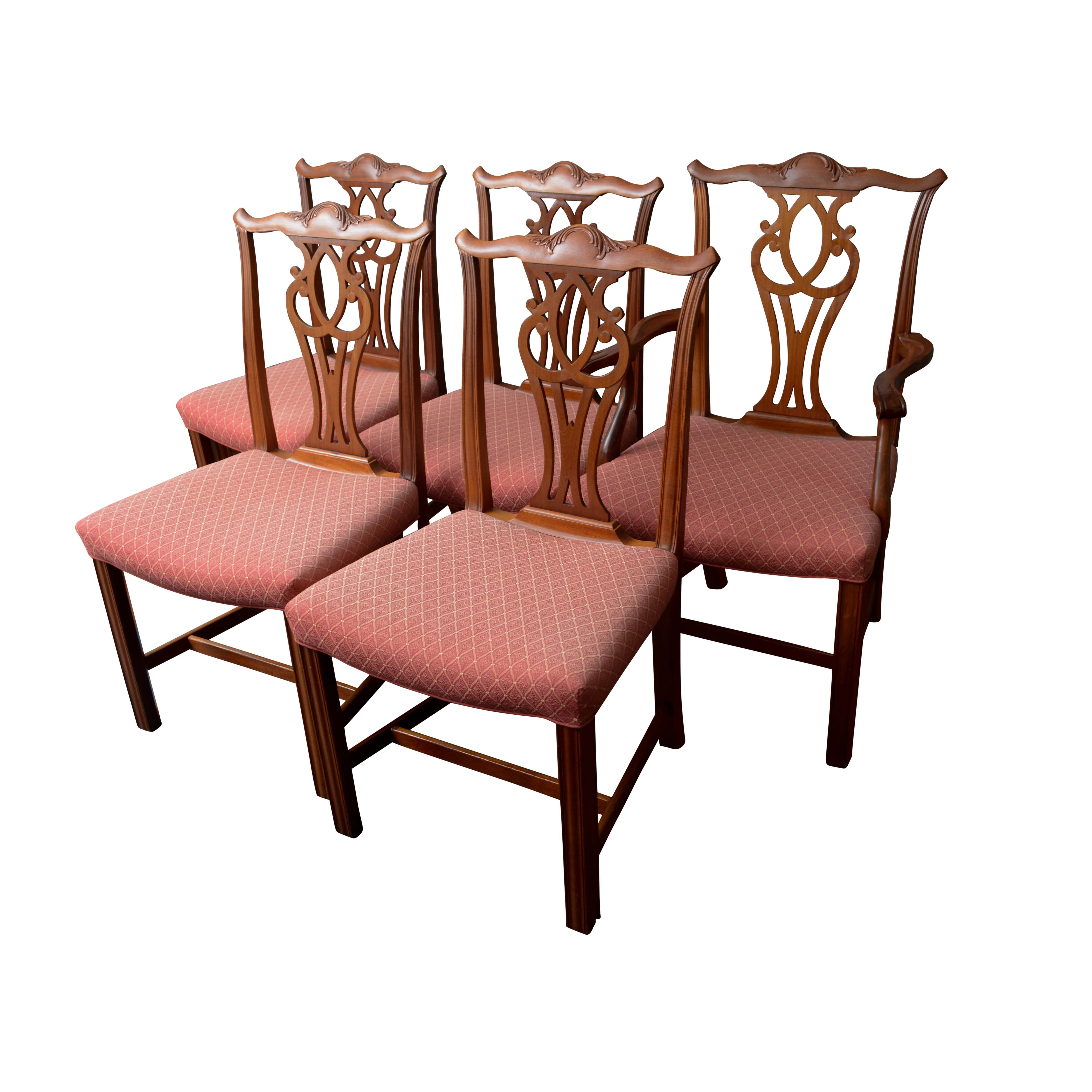 Five Chippendale Style Dining Chairs