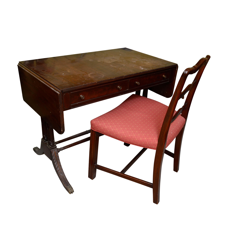 Mahogany Phyfe Style Drop Leaf Writing Desk