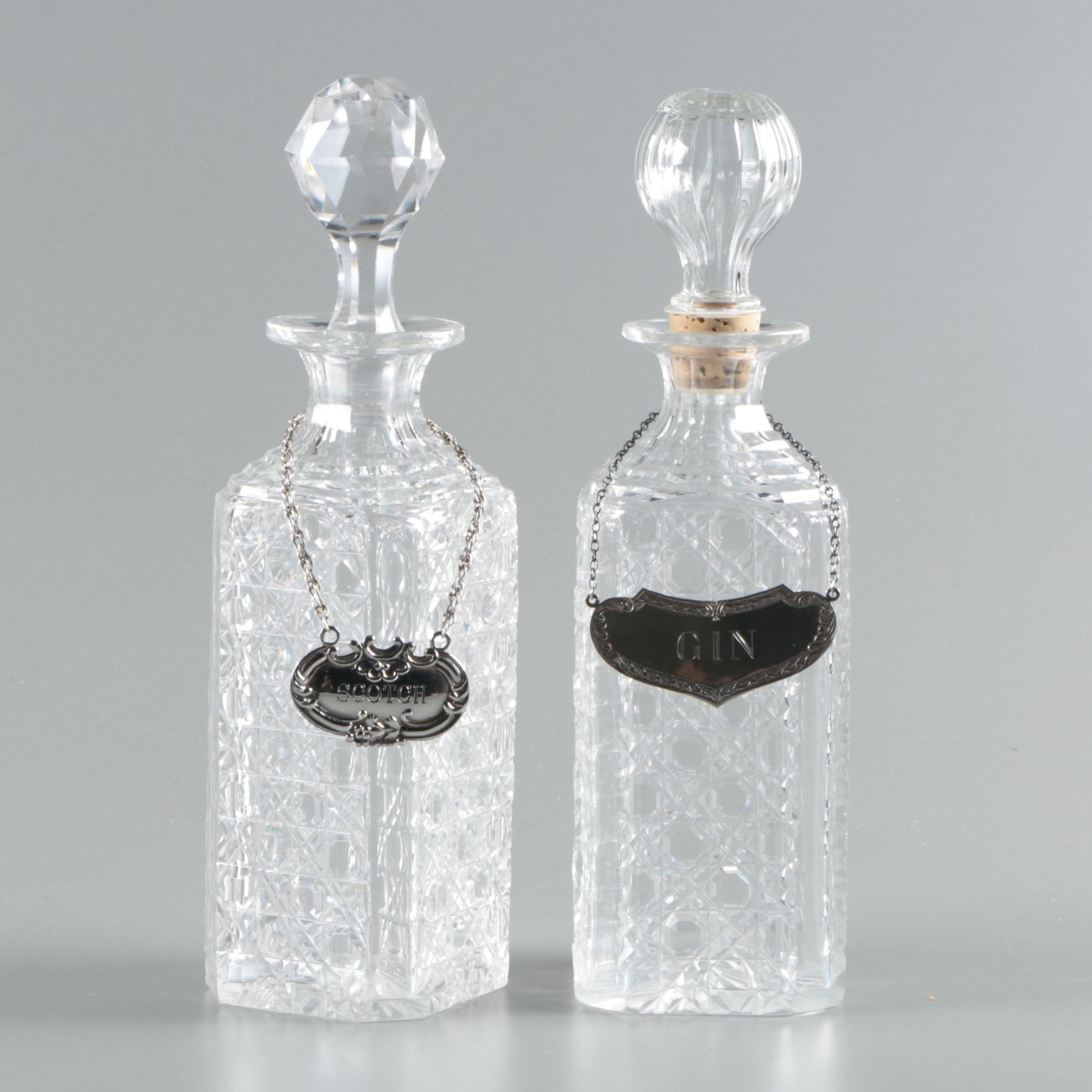 Cane Cut Crystal Decanters with Sterling and Italian 800 Silver Decanter Tags