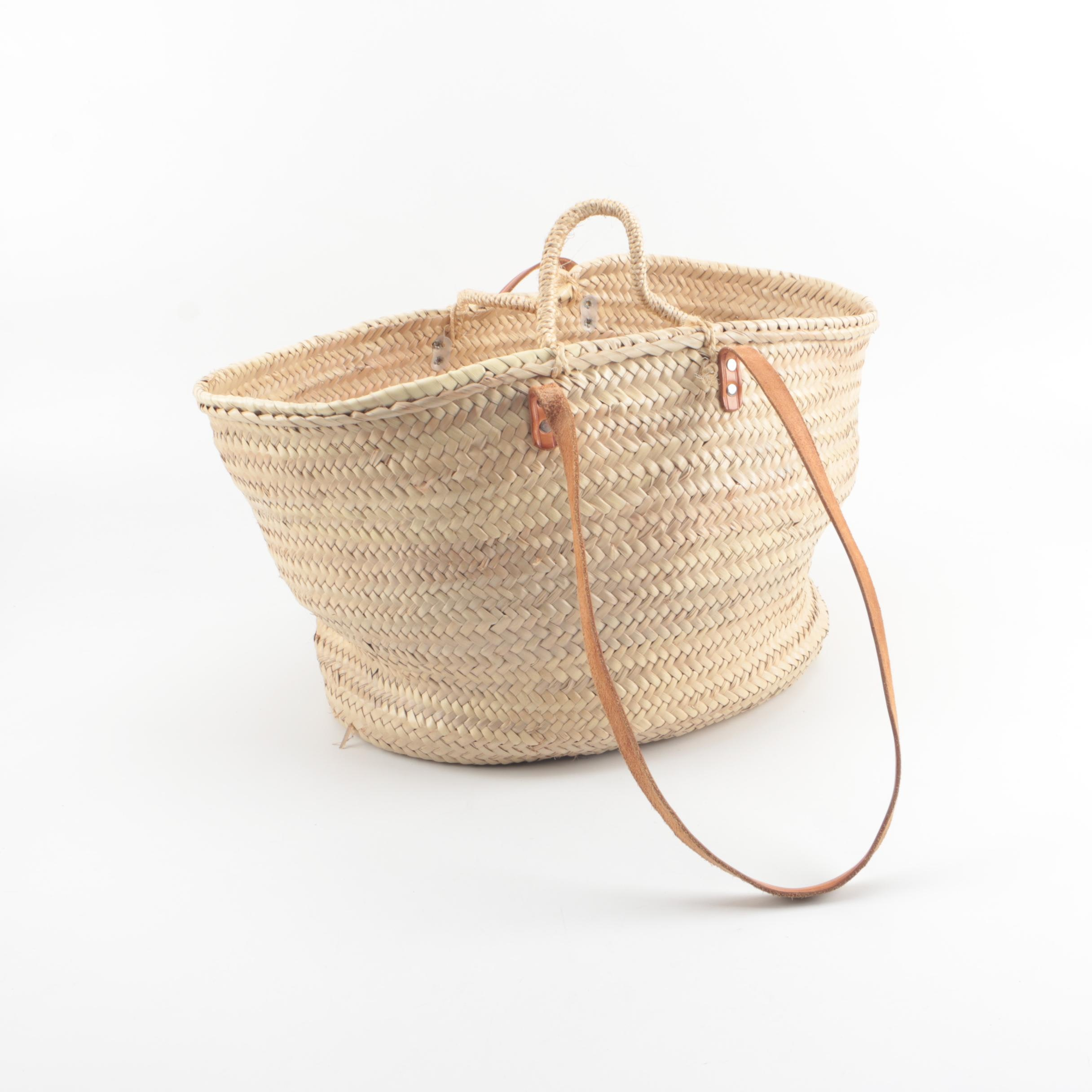 Wicker Market Woven Basket Tote with Tan Leather Shoulder Straps