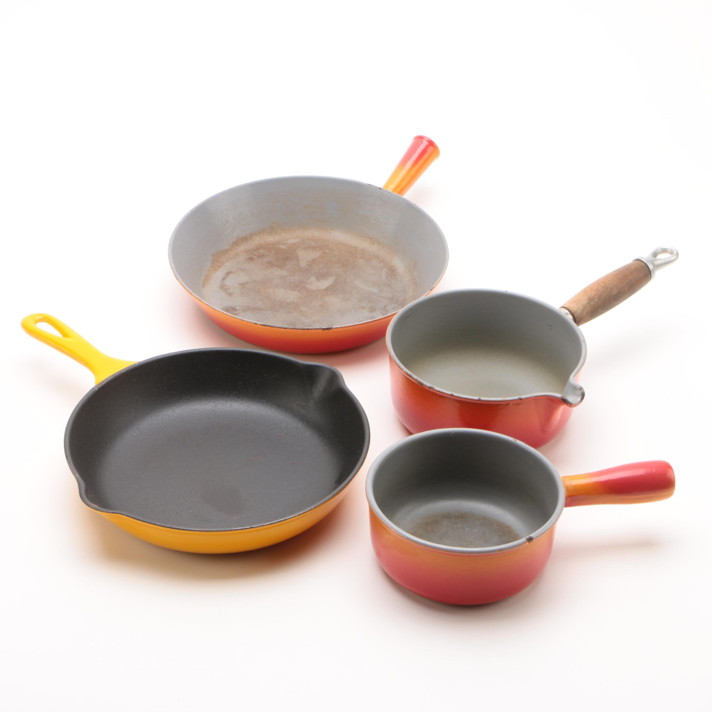Enameled Skillets and Sauce Pans including Le Creuset