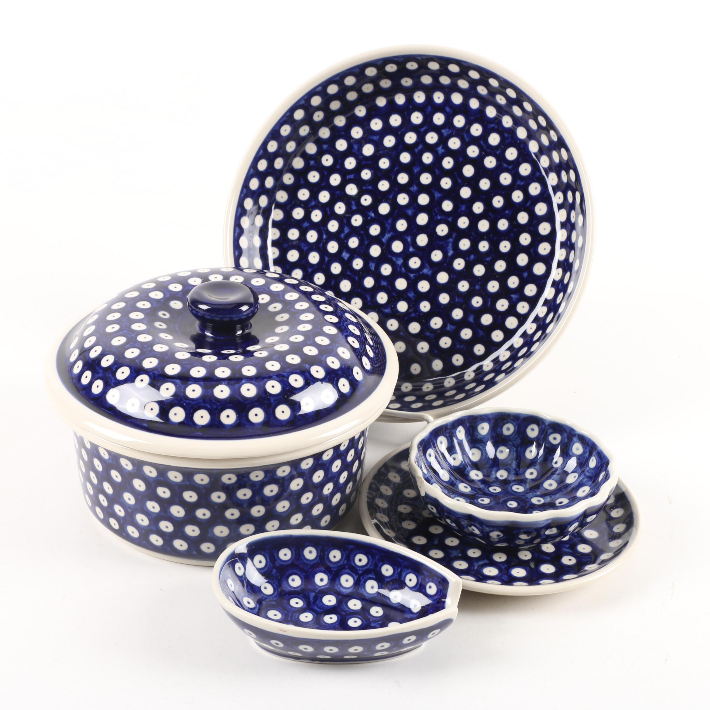 "Ceramika Artystyczna Bolesławiec Polish Pottery ""Polka Dot"" Bake-and Serveware"