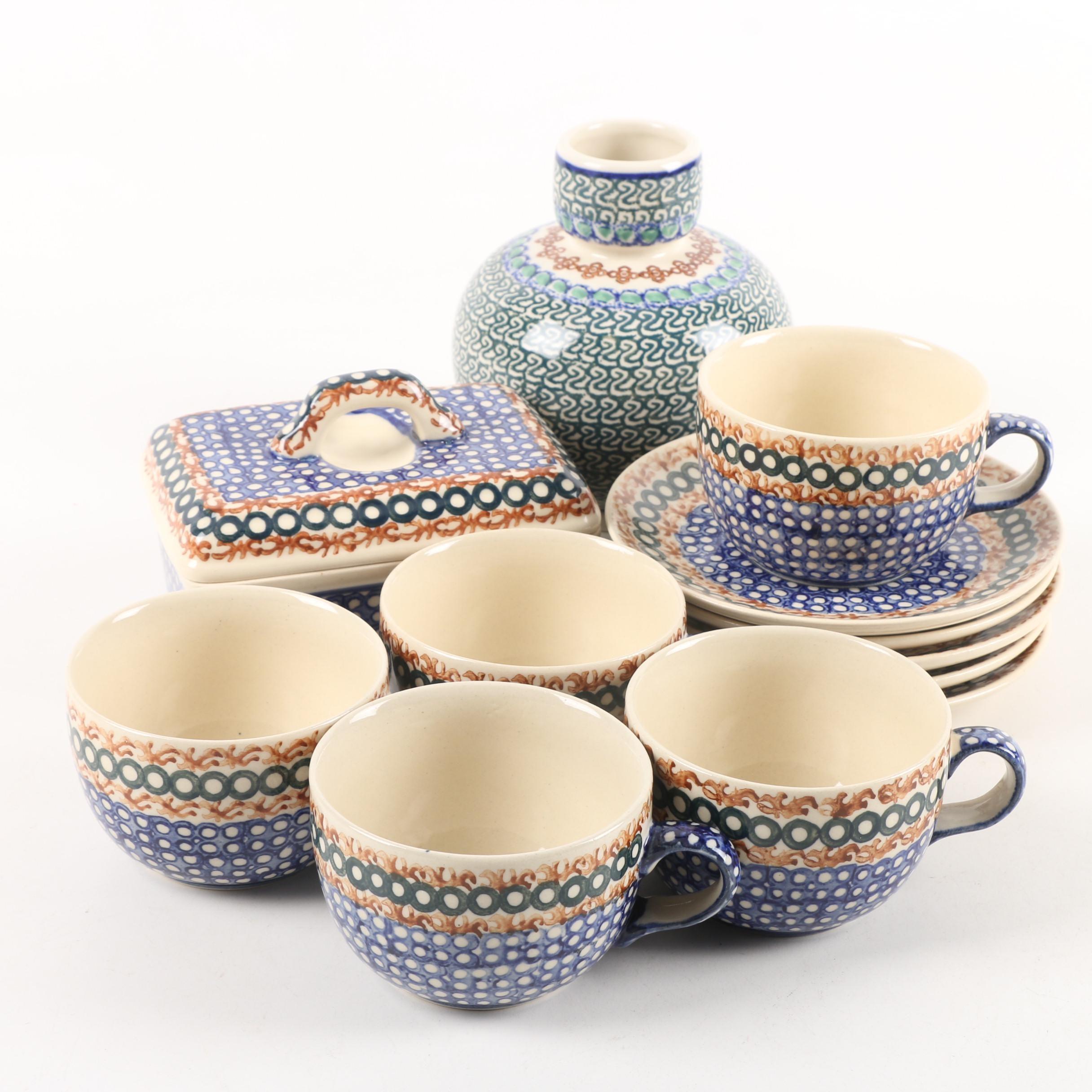 J. Okraska Pottery Vase and Boleslawiec Style Tableware