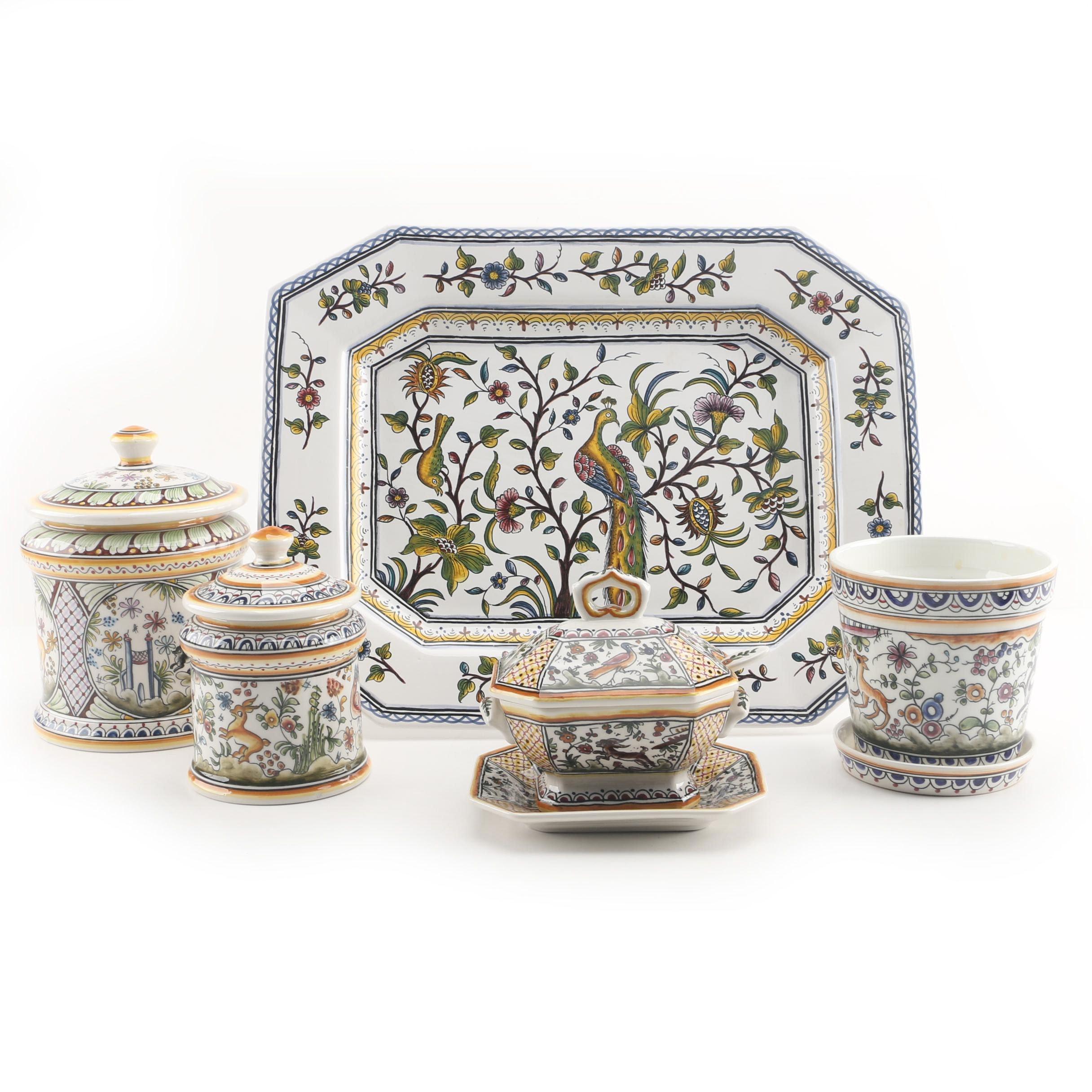 Hand-Painted Portuguese Ceramic Serveware Including Estrella de Conimbriga