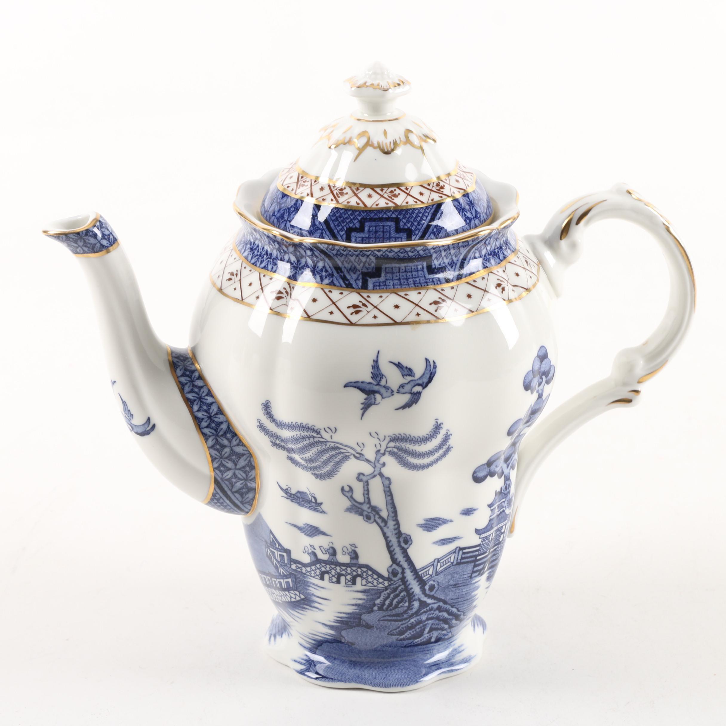 "Royal Doulton ""Real Old Willow"" Transfer Printed Coffee Pot Circa 1982-1999"
