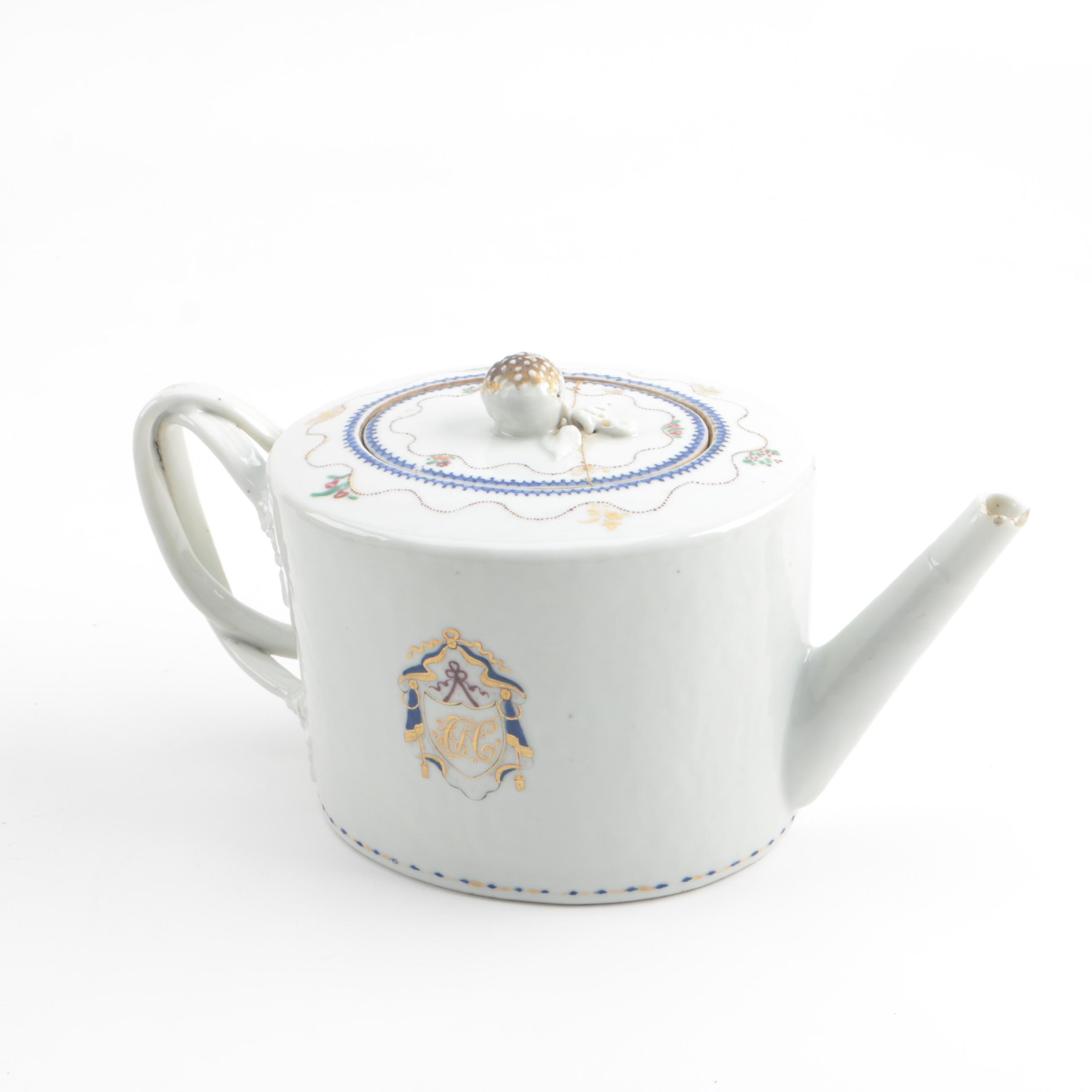18th Century Chinese Export Monogramed Porcelain Teapot