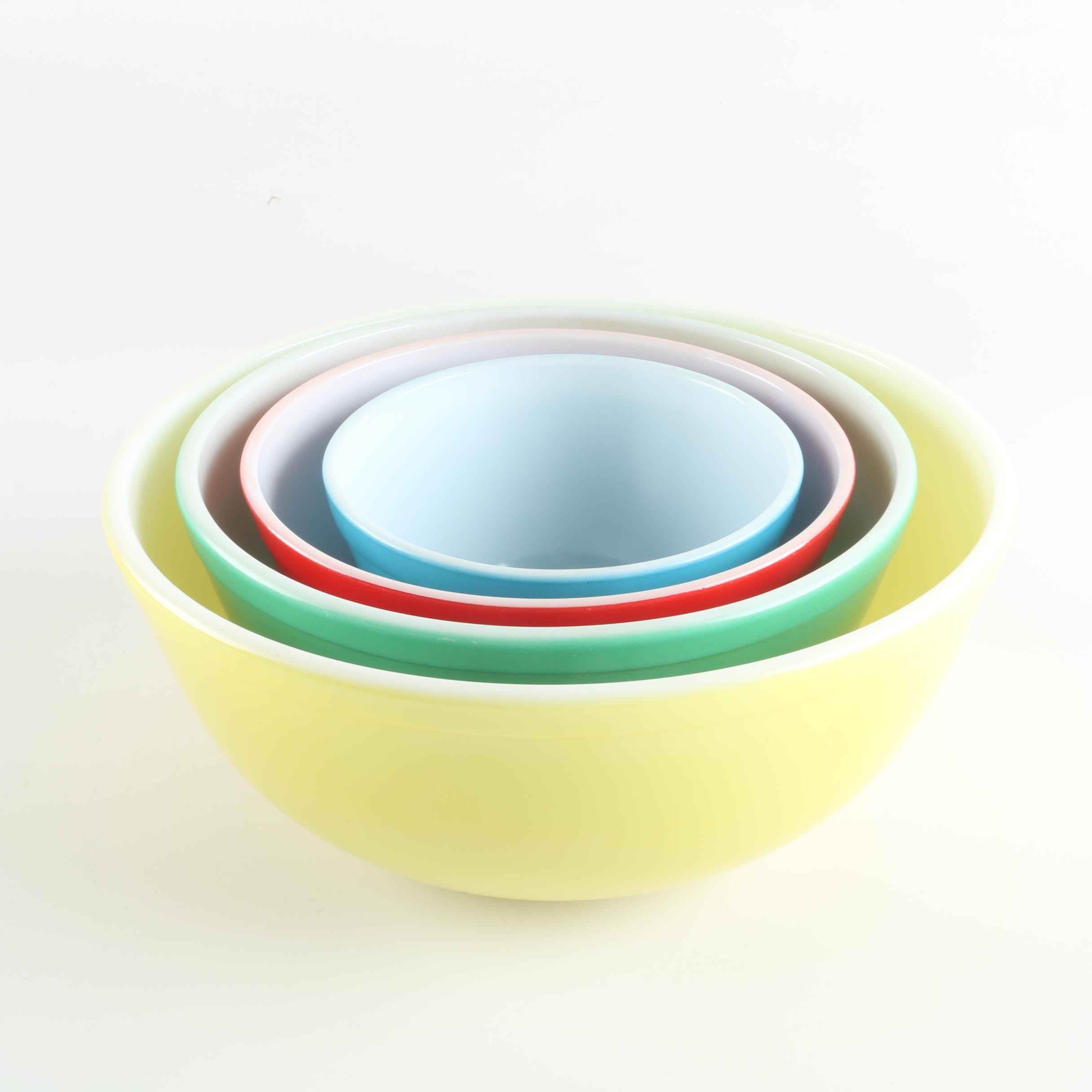 "Vintage Pyrex ""Primary Colors"" Nesting Bowls"