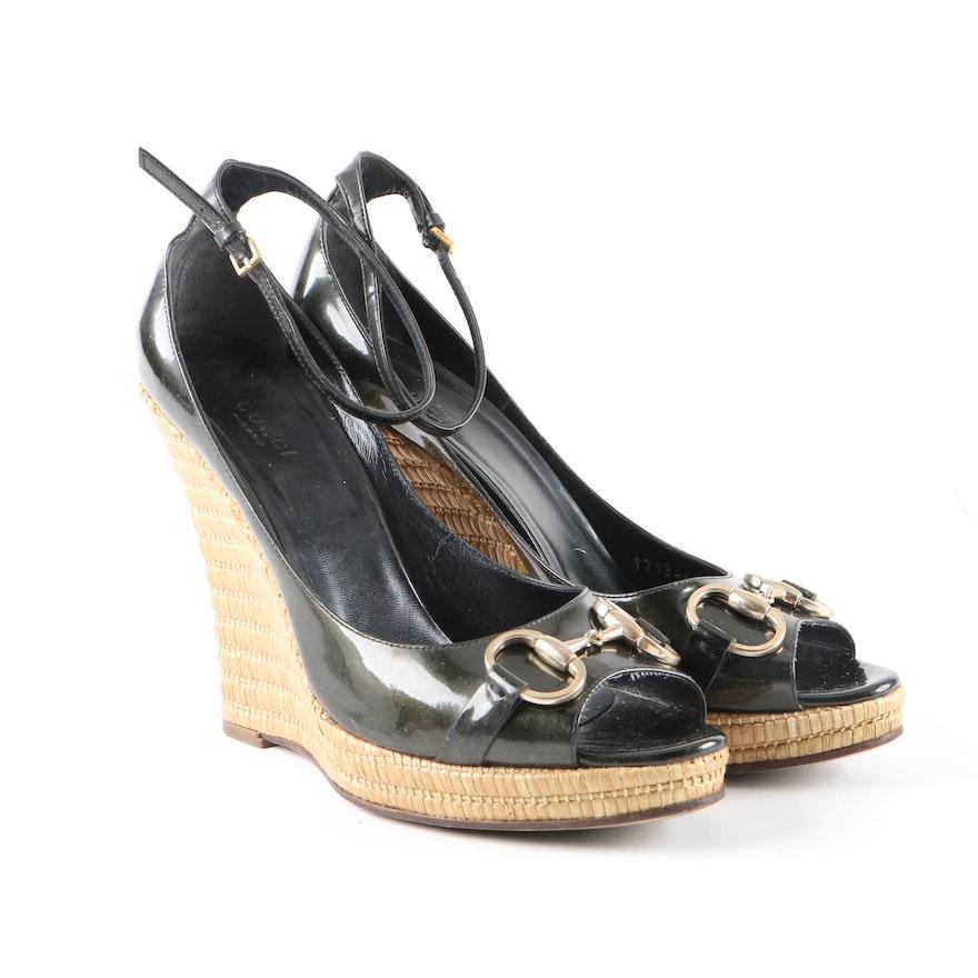 2bf2c3e0cc9 Gucci Black Patent Leather Horsebit Espadrille Wedges   EBTH