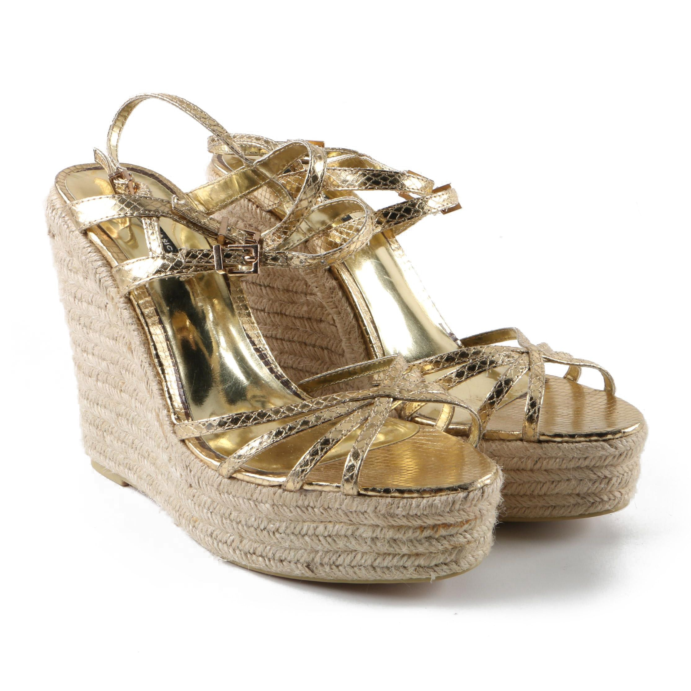Zara Basic Metallic Gold Tone Leather Espadrille Wedge Sandals