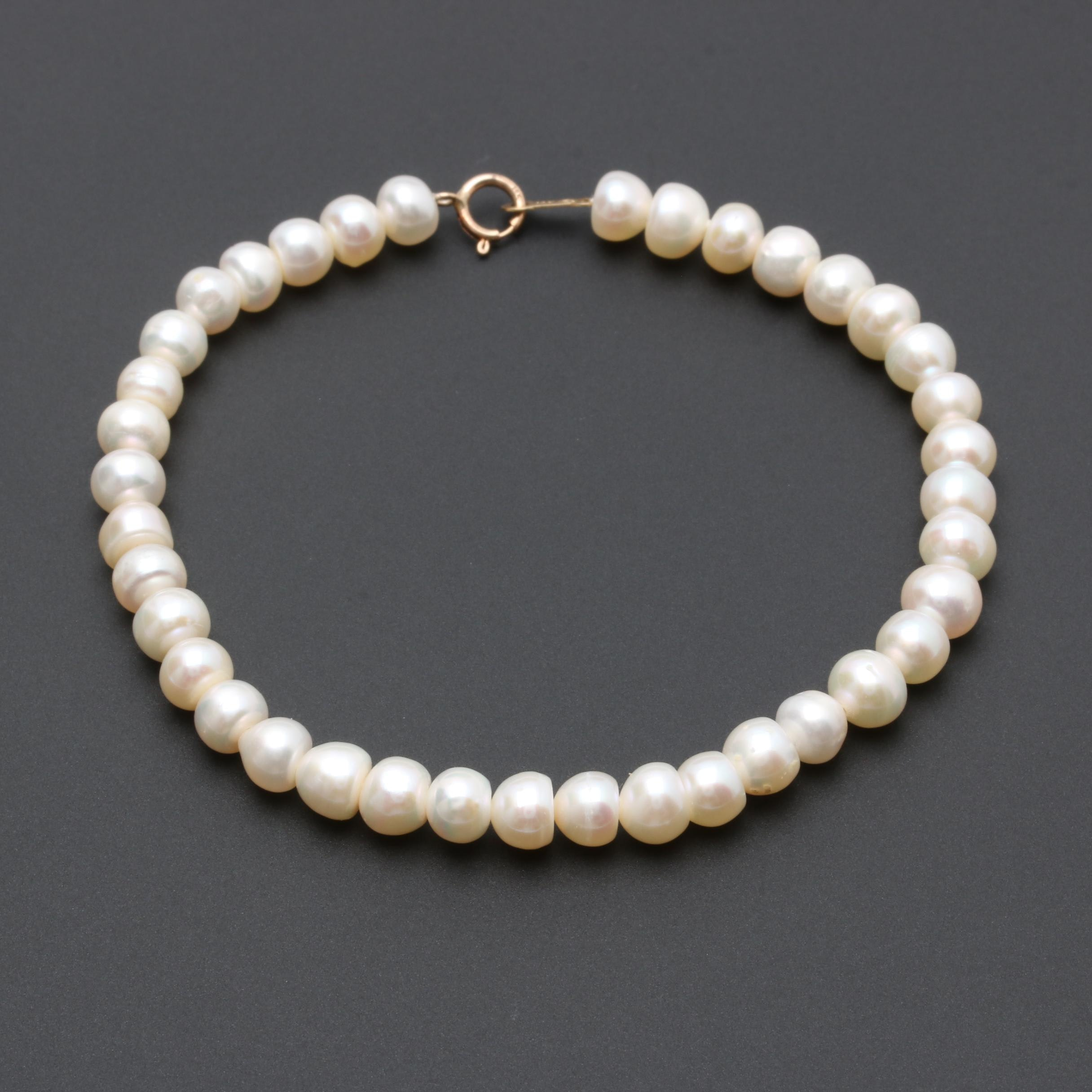 10K Yellow Gold Cultured Pearl Bracelet