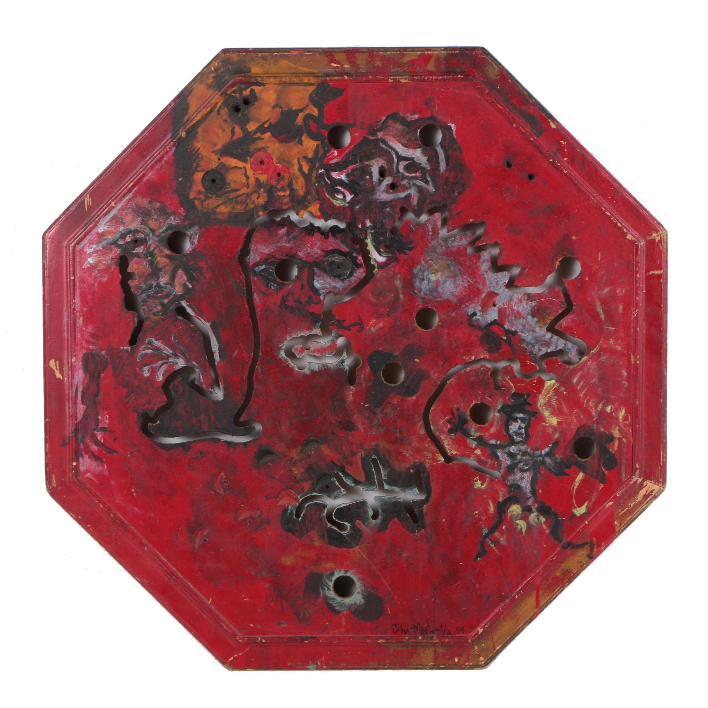 """John Marfoglia Mixed Media Painting """"The Red Octagon"""""""