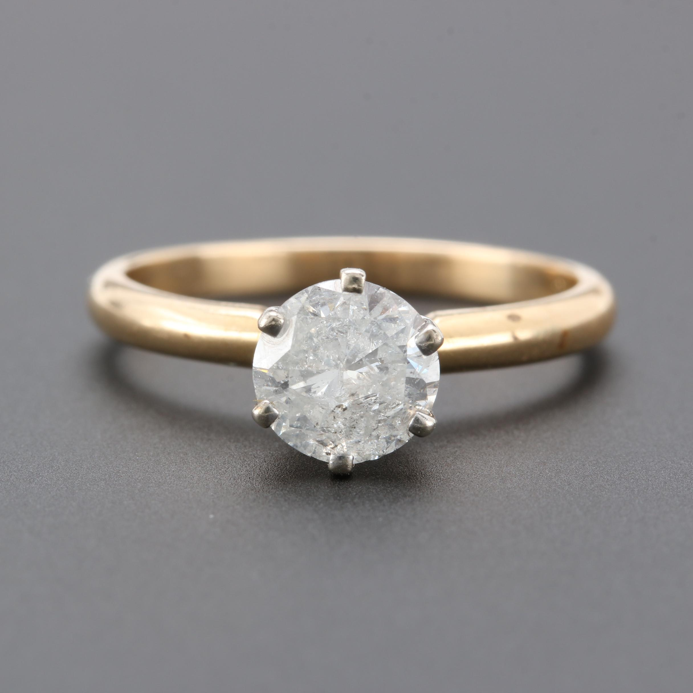14K Yellow Gold 1.12 CT Diamond Solitaire Ring