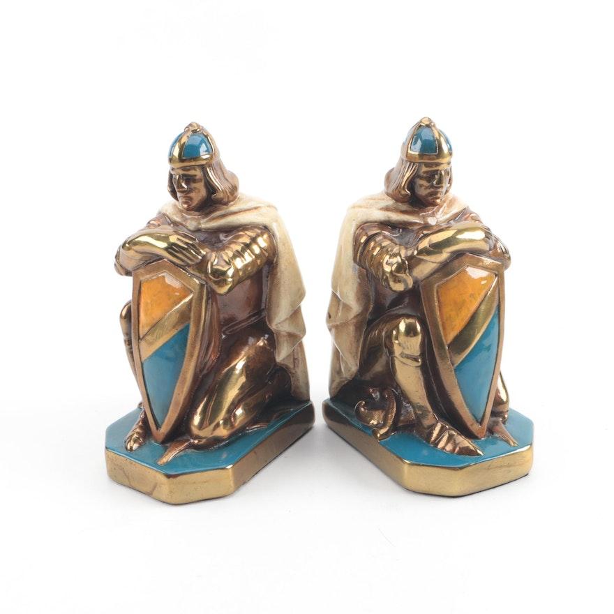 Vintage John Ruhl Style Brass-Toned Ceramic Crusader Bookends