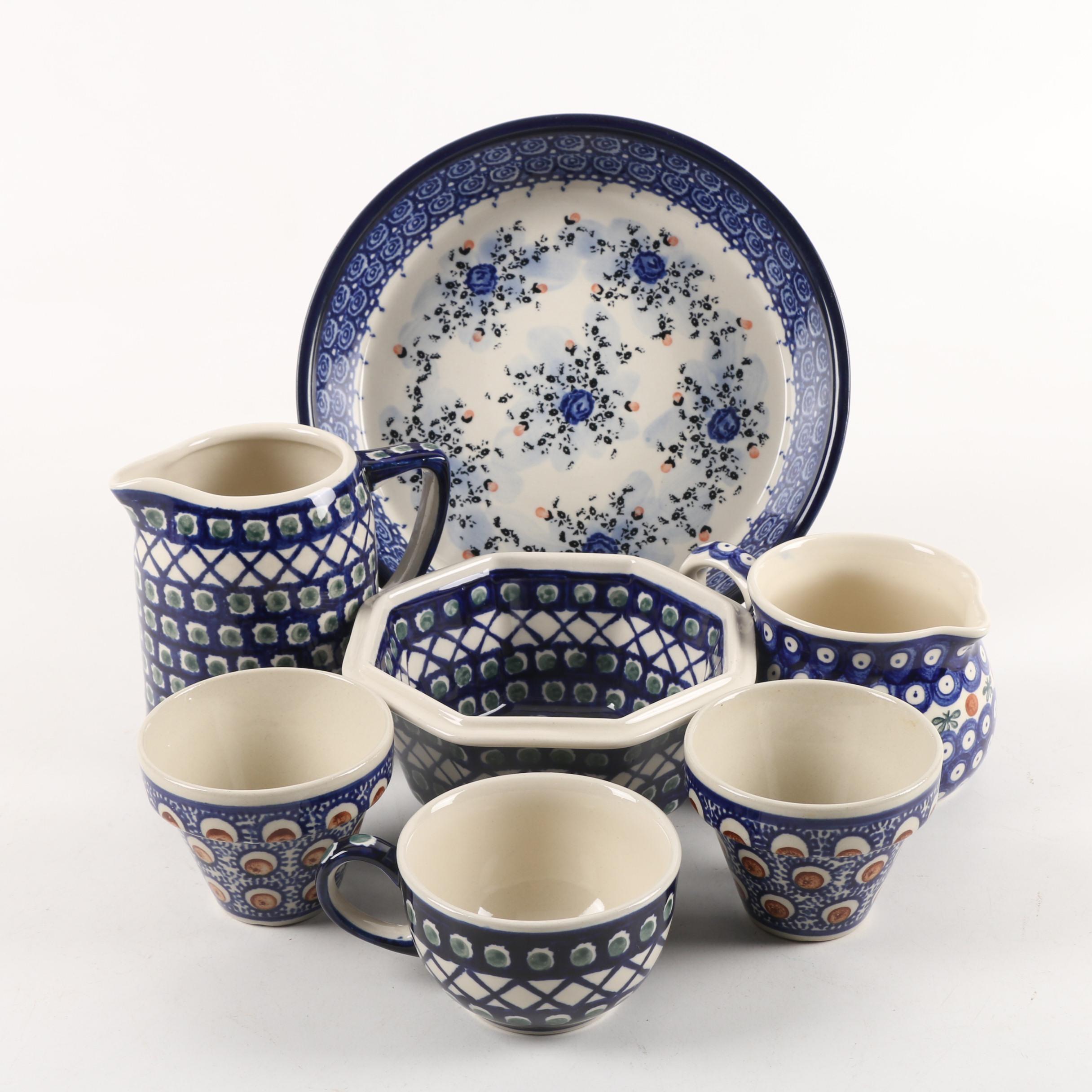 Bolesławiec Polish Pottery Serveware Featuring Unikat Ceramika Artystyczna