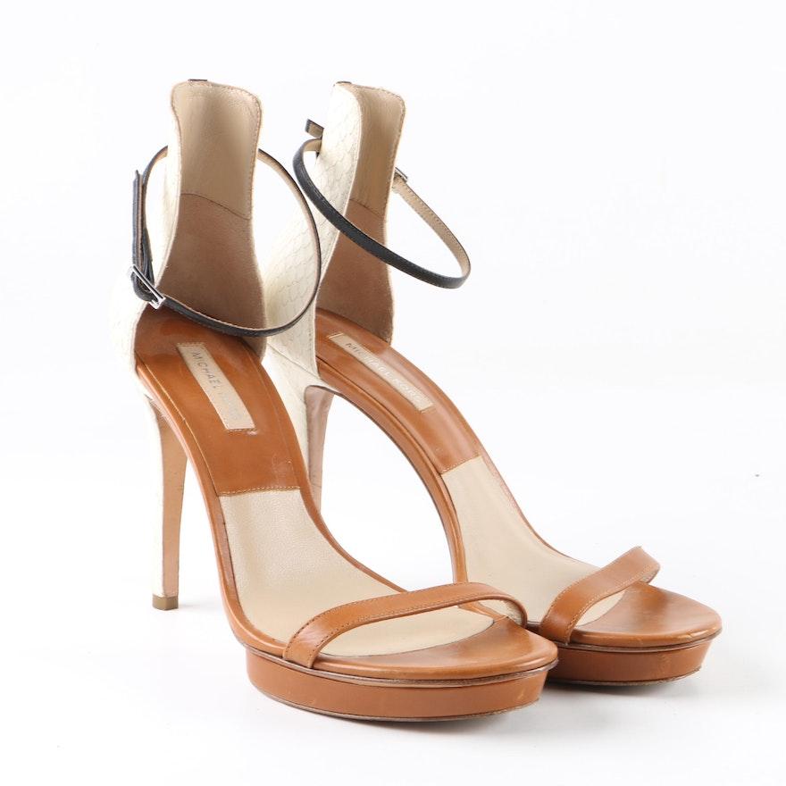 d31843484dd Michael Kors Leather and Snakeskin Embossed Leather Platform Sandals ...