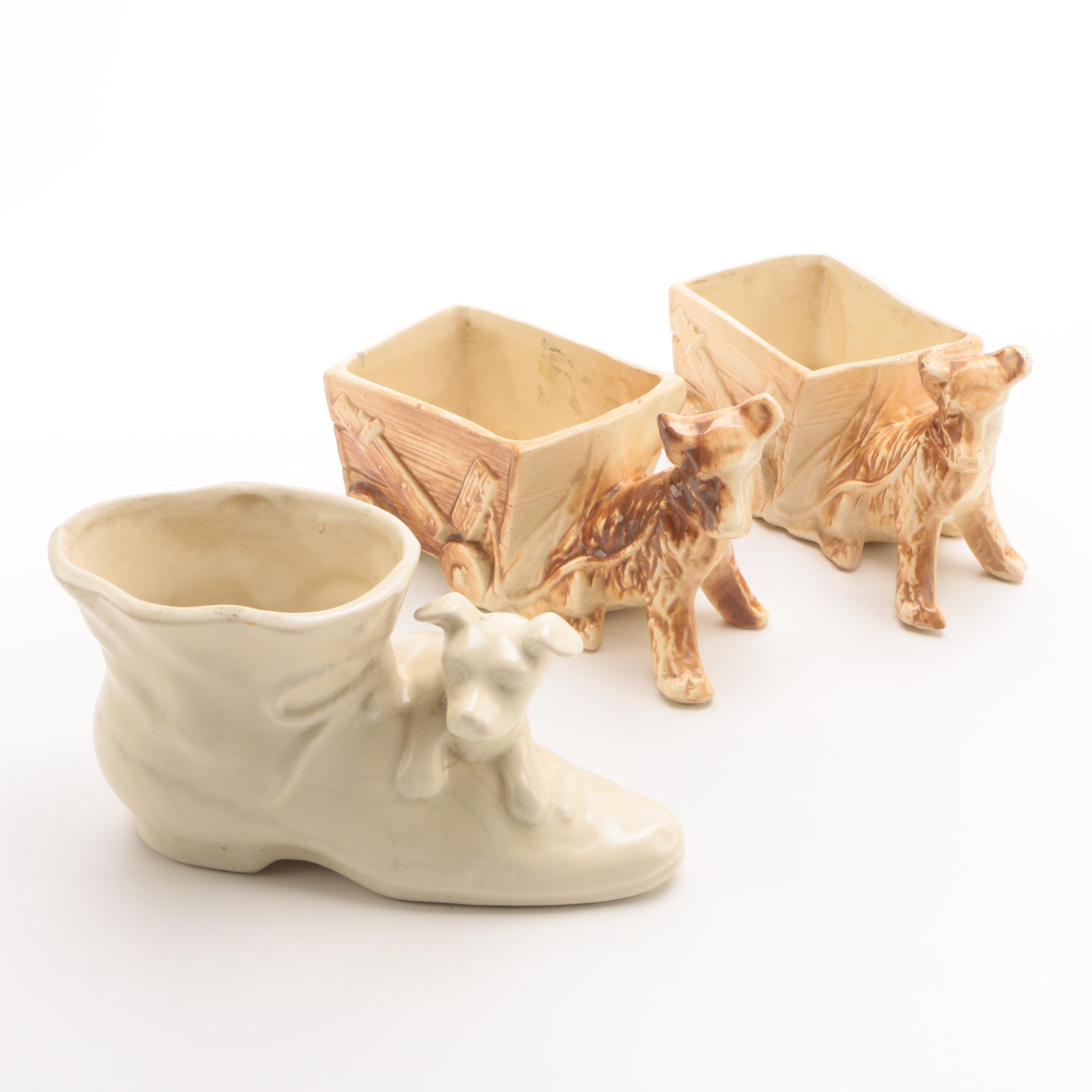 Mid-Century McCoy Pottery Dog Cart Planters and More