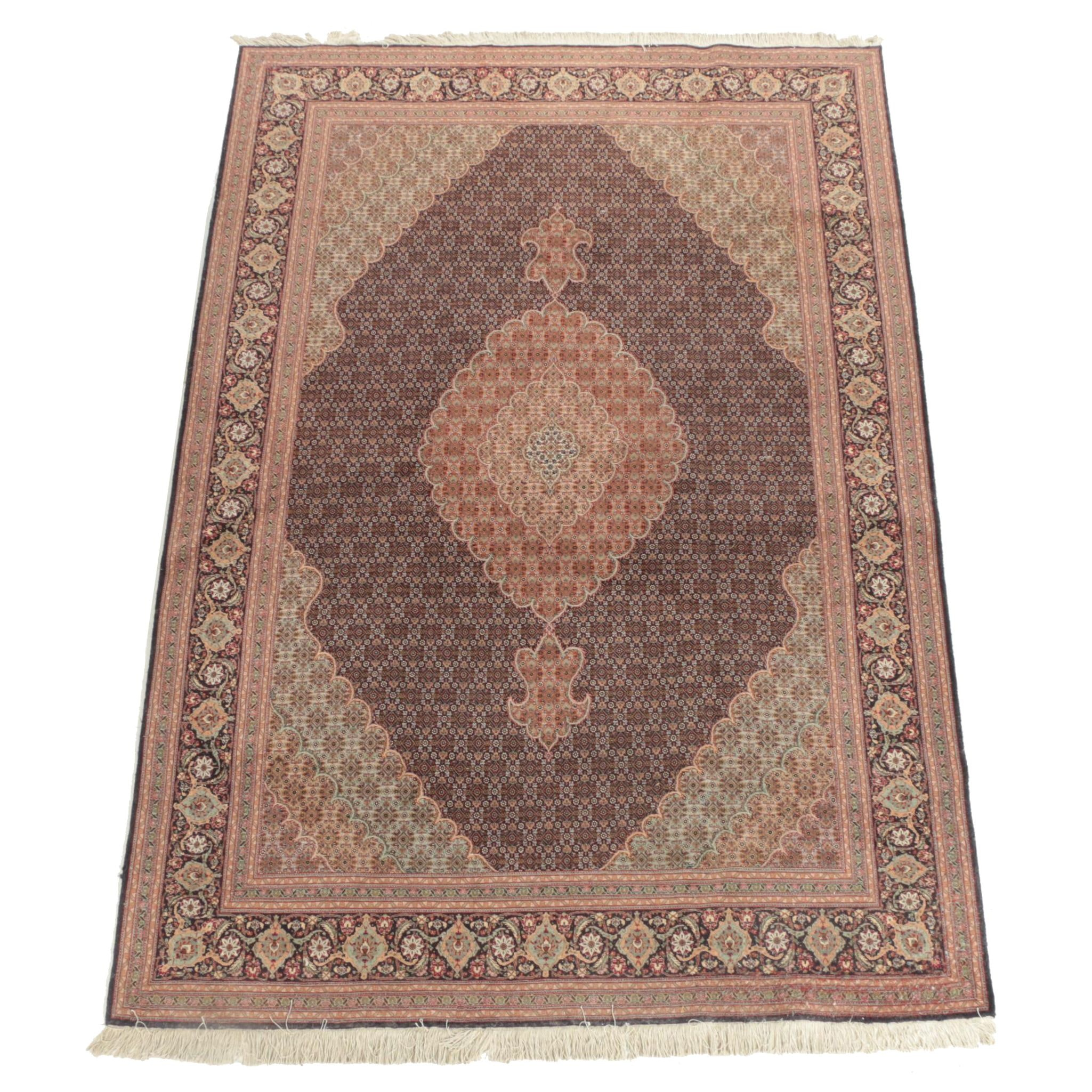 Finely Hand-Knotted Persian Mahi Tabriz Wool Area Rug