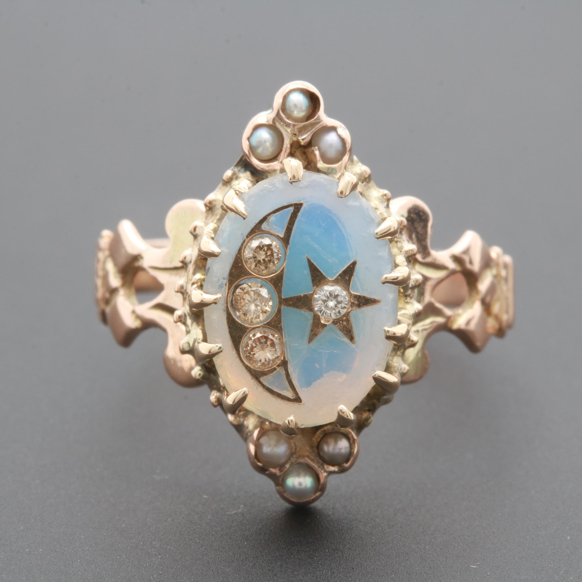 Victorian 9K Yellow Gold Glass, Diamond, and Seed Pearl Ring