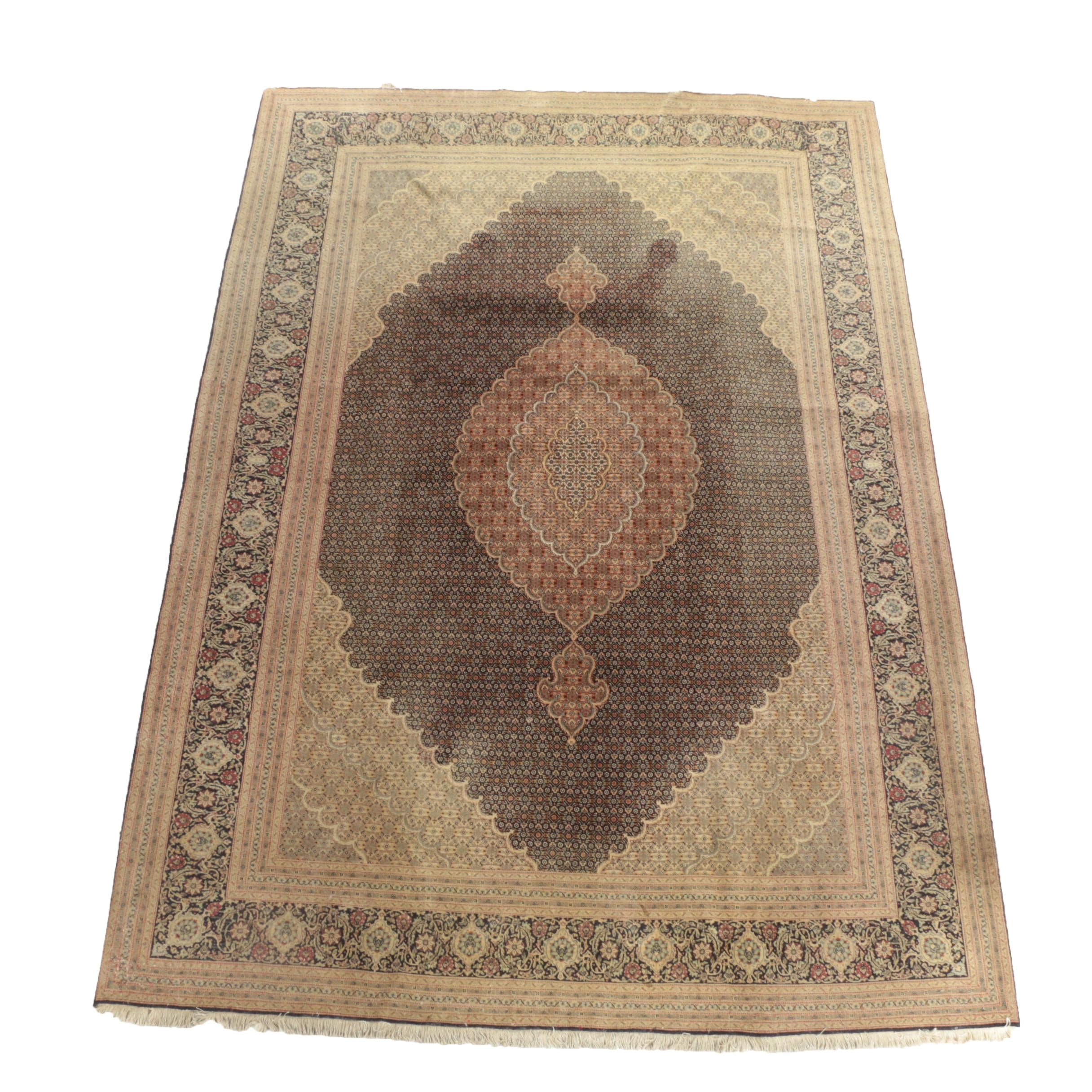 Finely Hand-Knotted Persian Mahi Tabriz Wool Room Sized Rug