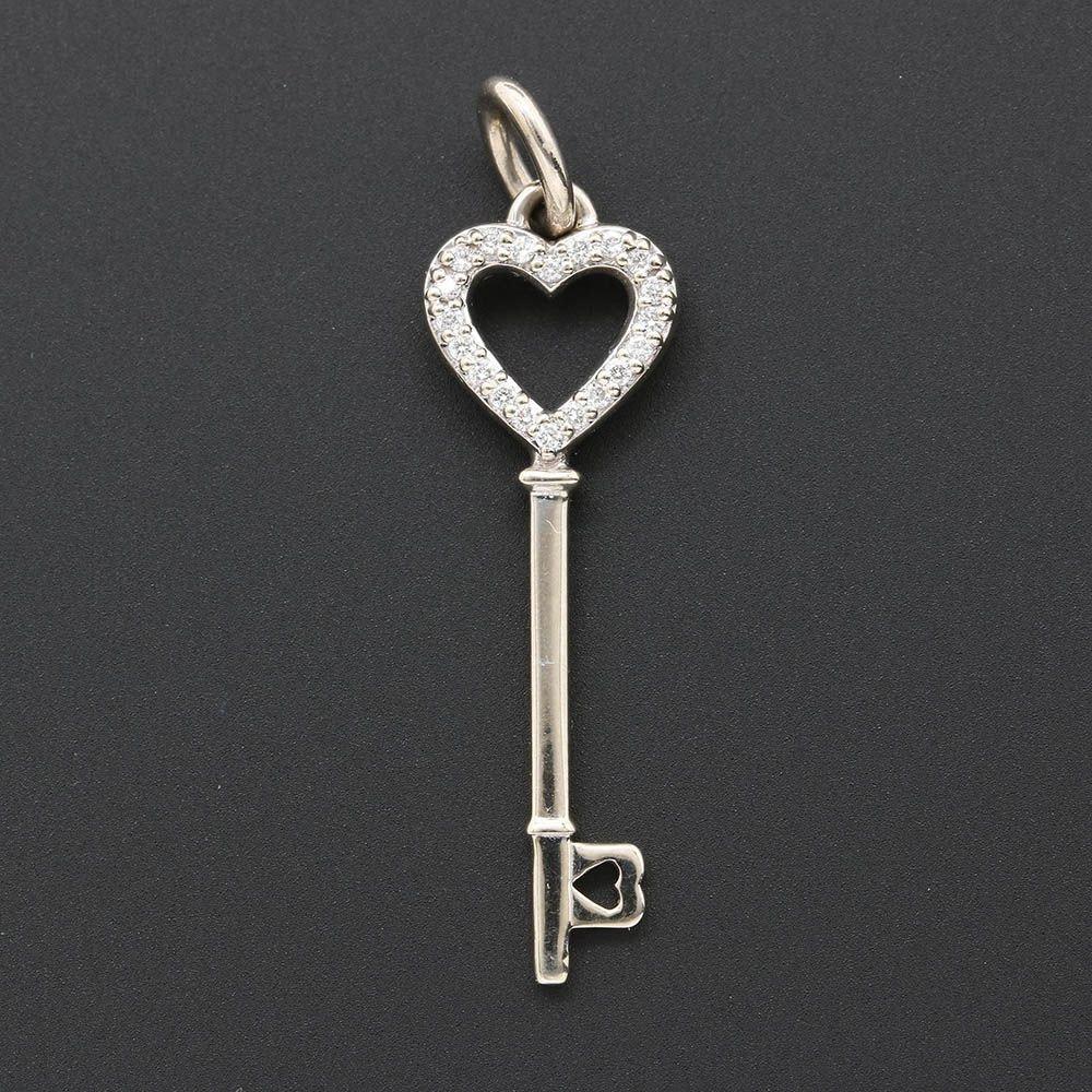 14K White Gold Diamond Key Pendant