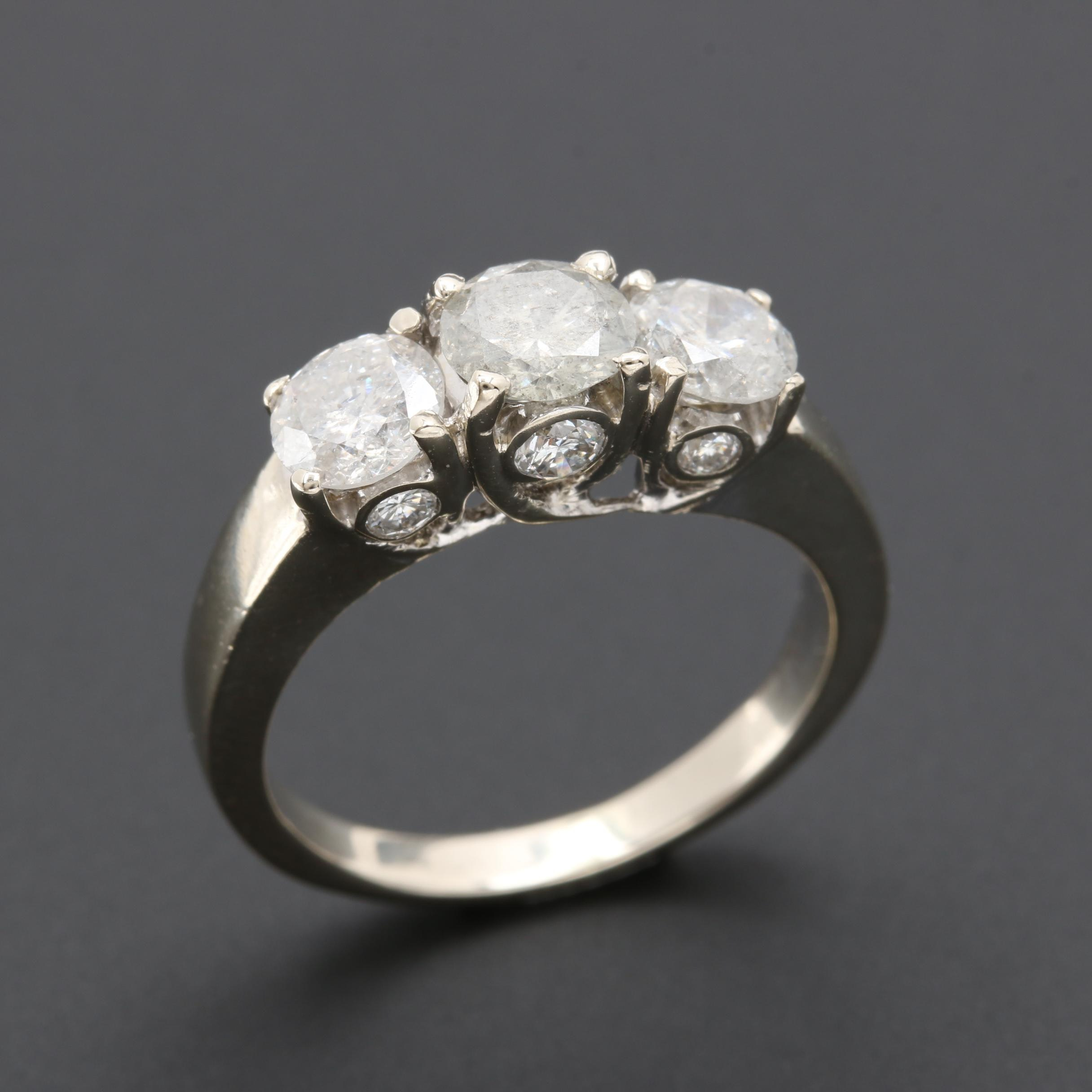 14K White Gold 1.71 CTW Diamond Ring