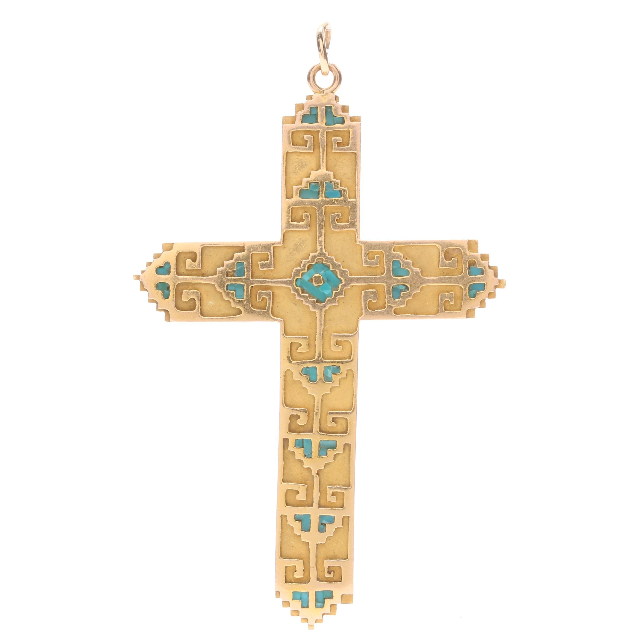 14K Yellow Gold Cross Pendant With Turquoise Inlay