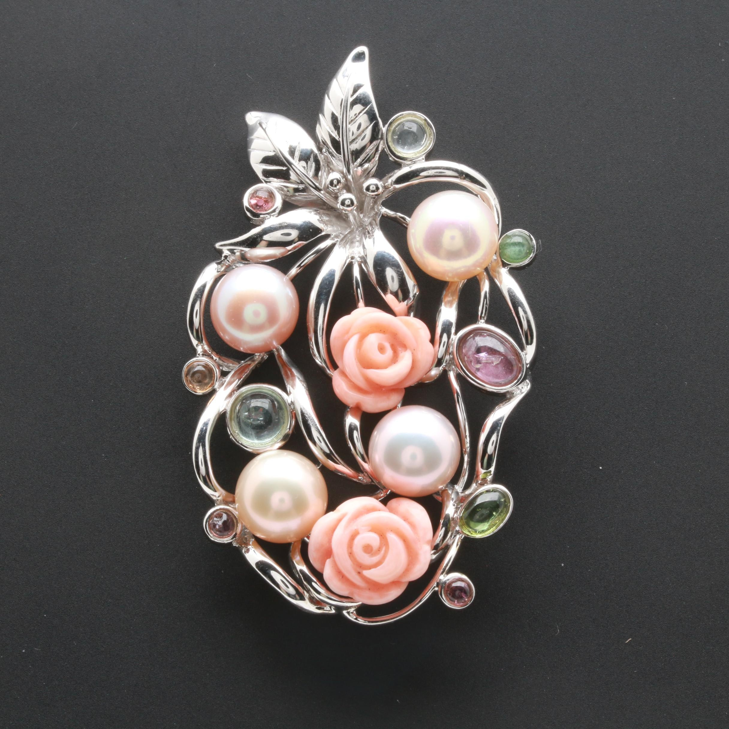 Sterling Silver Cultured Pearl, Coral, Aquamarine, and Tourmaline Pendant