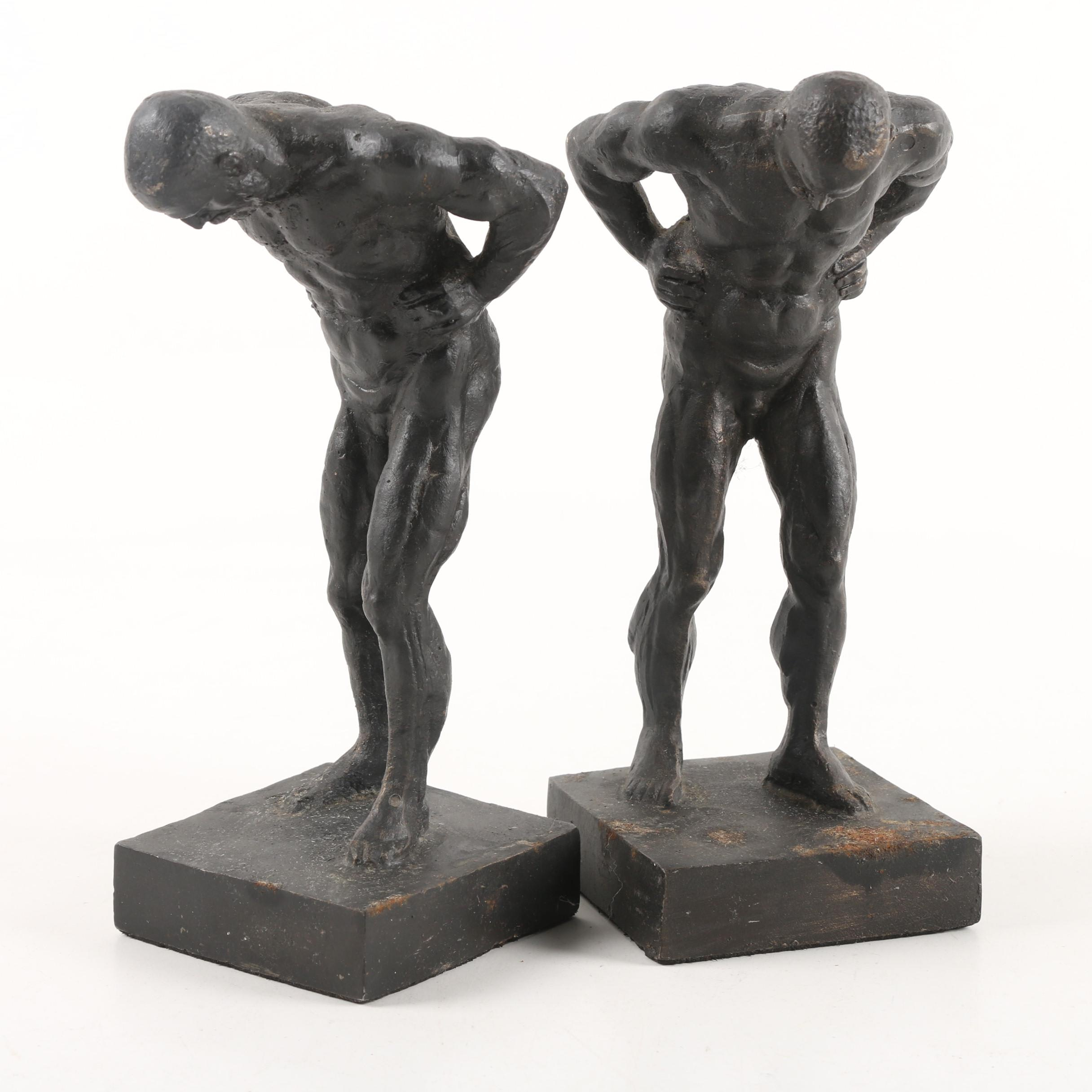 Vintage Cast Iron Nude Male Bookends
