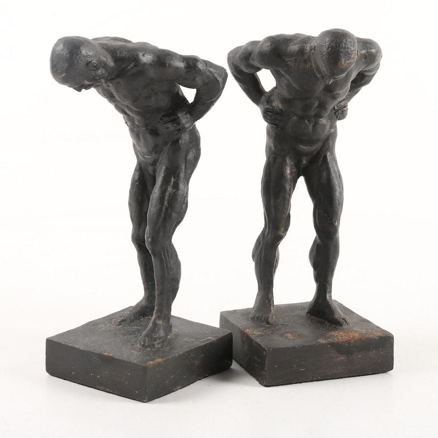 Vintage Cast Iron Nude Male Bookends Ebth