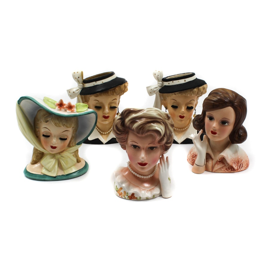 Five Vintage Porcelain Lady Head Vases Ebth