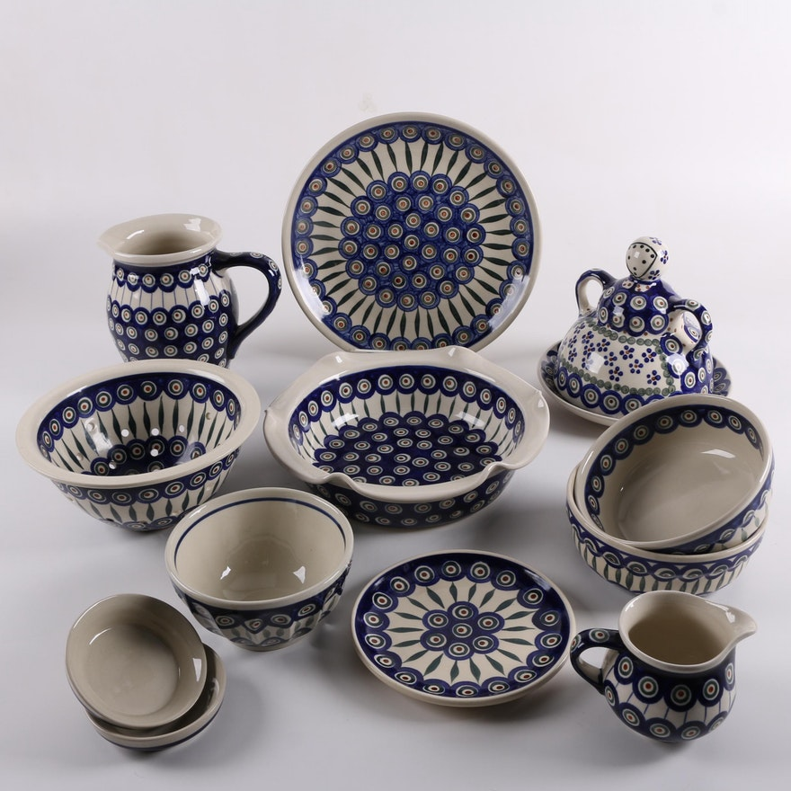 Ceramika Artystyczna Bolesławiec Polish Pottery Peacock Tableware