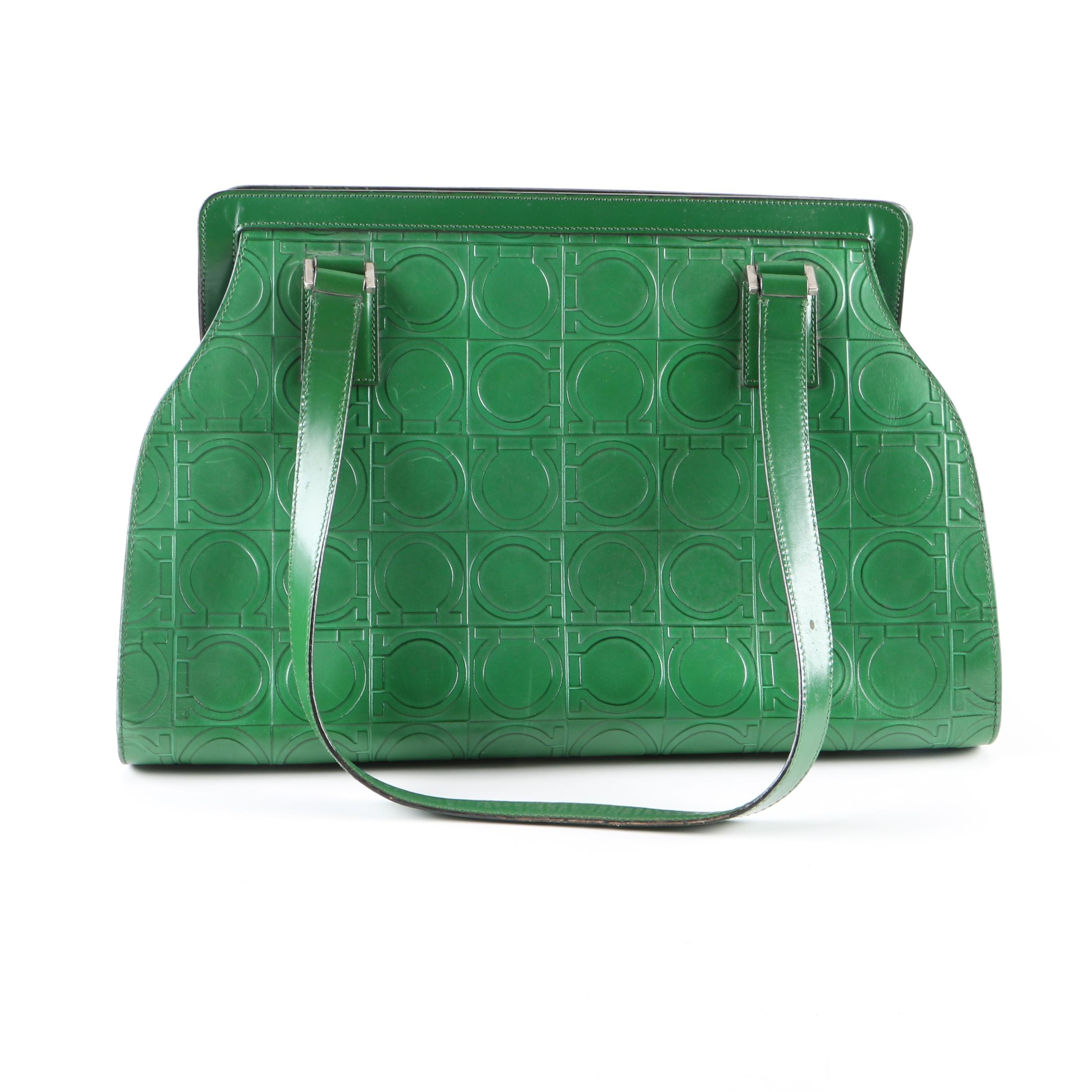 Salvatore Ferragamo Gancio Embossed Green Leather Shoulder Bag