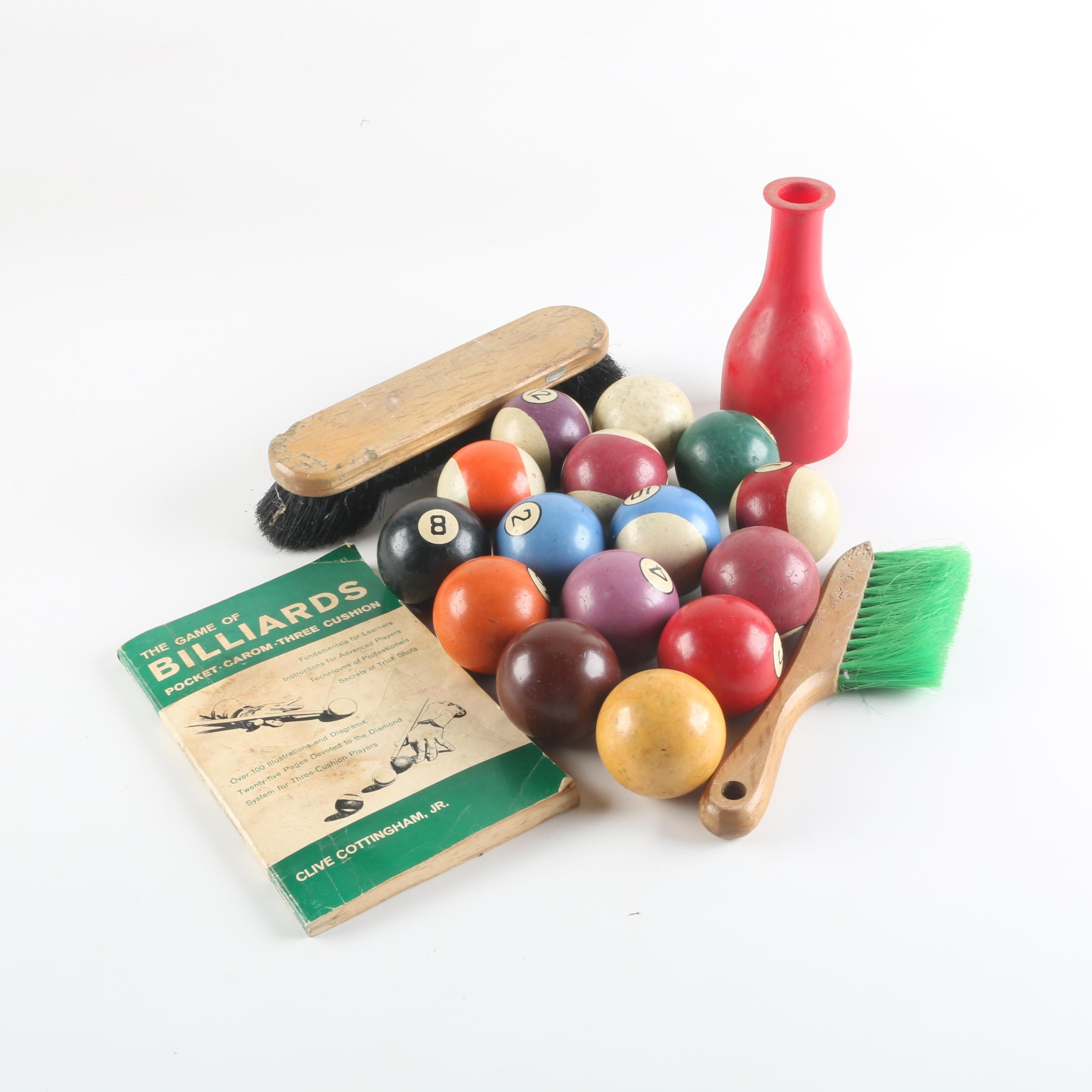 Billiard Balls, Brushes, Book and Shaker Bottle With Tally Balls
