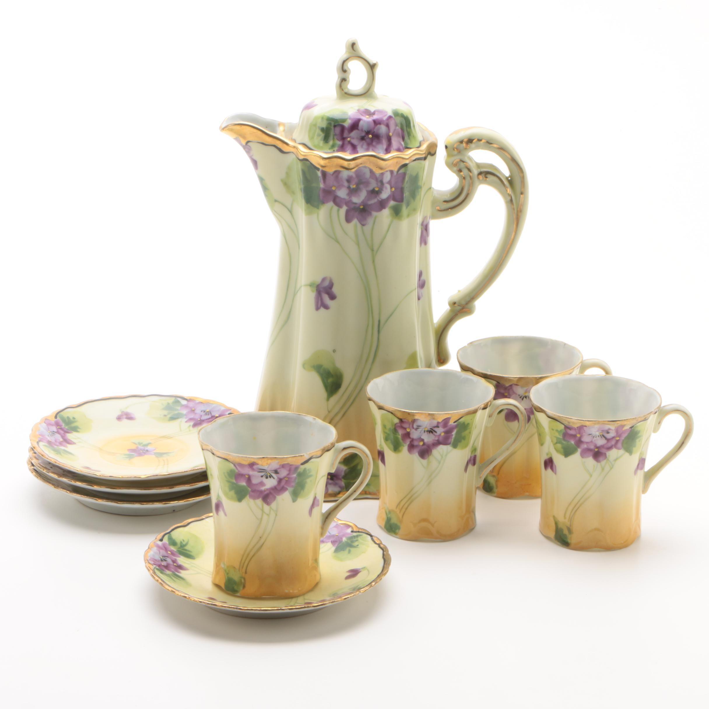 Vintage Japanese Hand-Painted Porcelain Chocolate Set