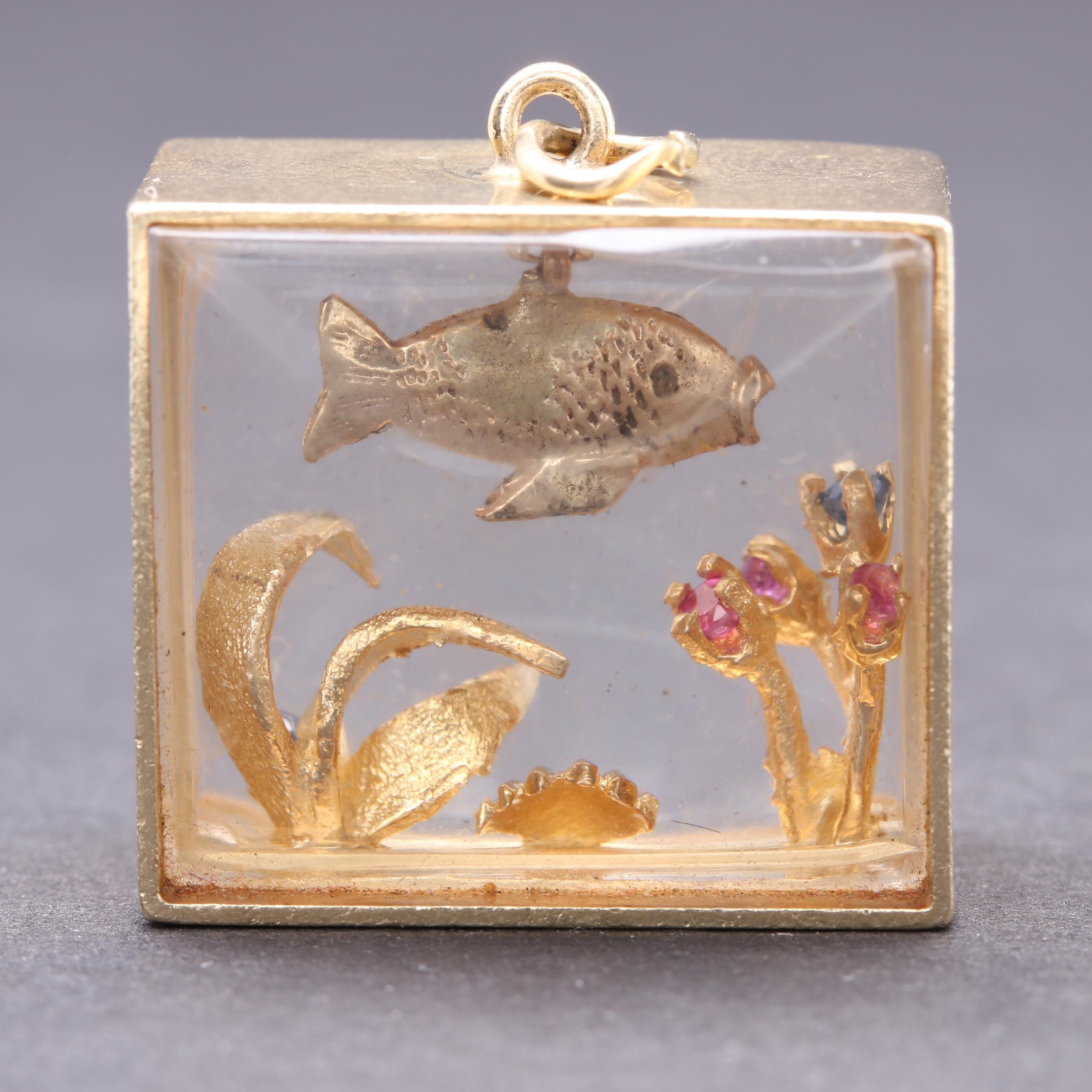 14K Yellow Gold Ruby and Blue Sapphire Fish Tank Pendant