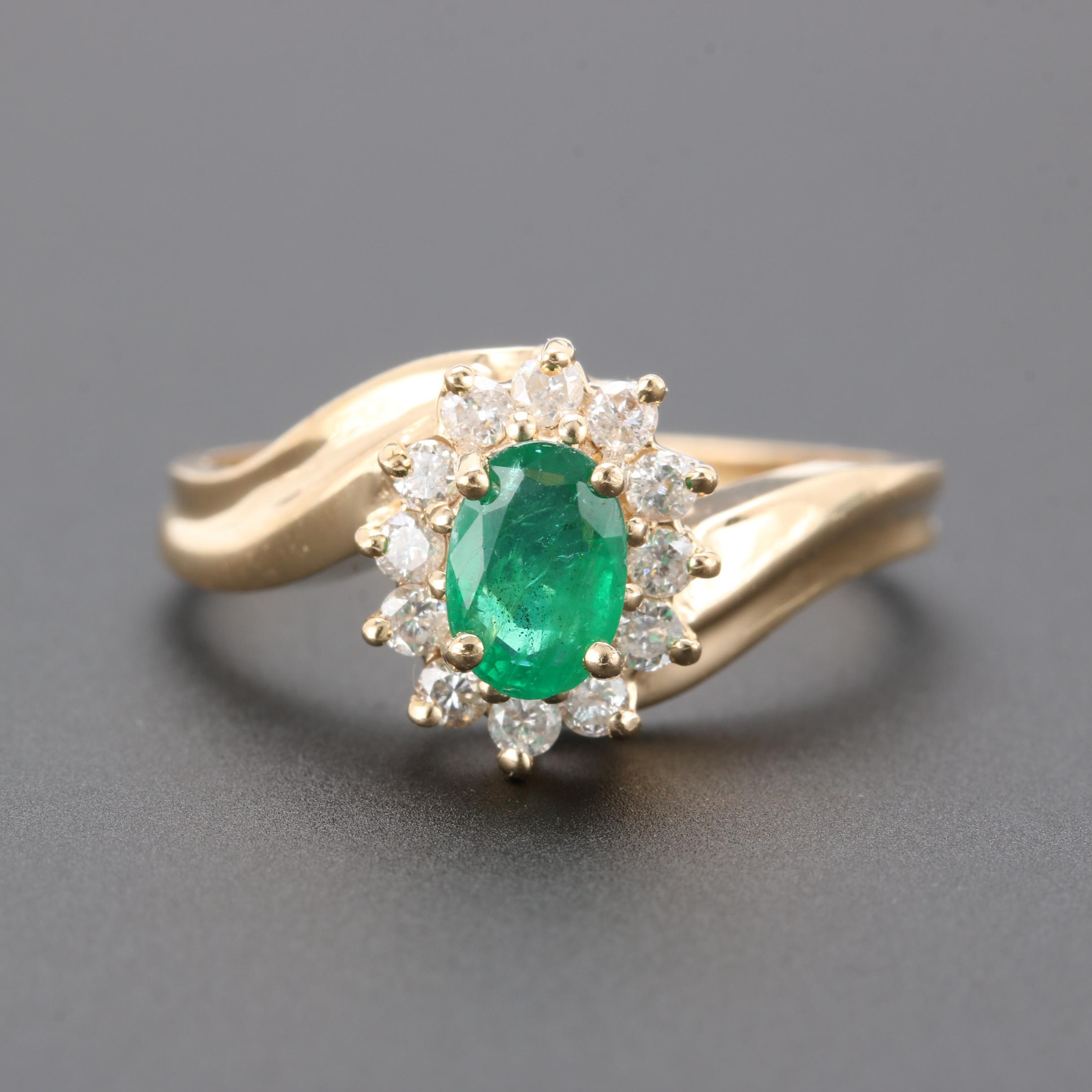 14K Yellow Gold Emerald and Diamond Bypass Ring