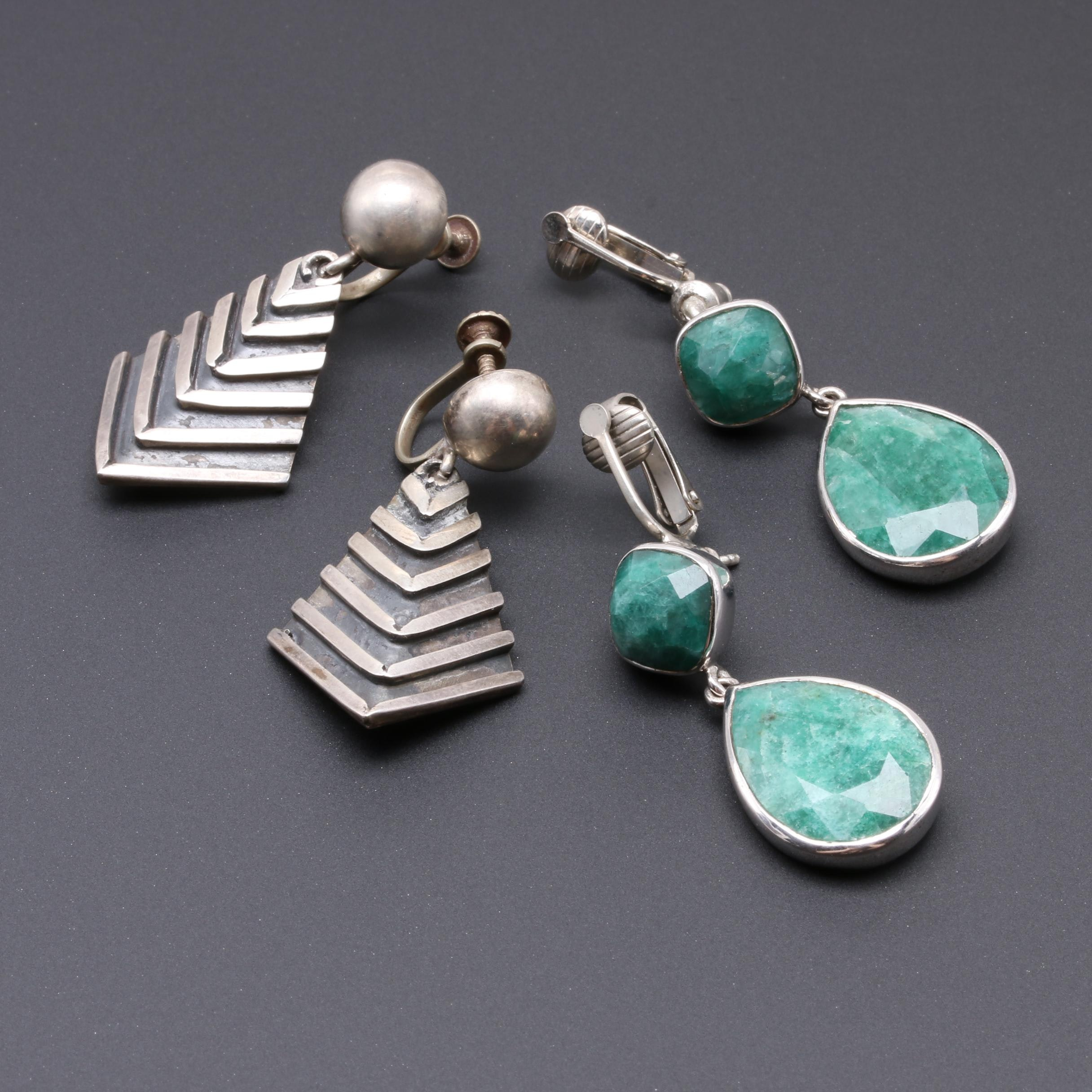Mexican Sterling Silver Earrings With Dyed Beryl Earrings