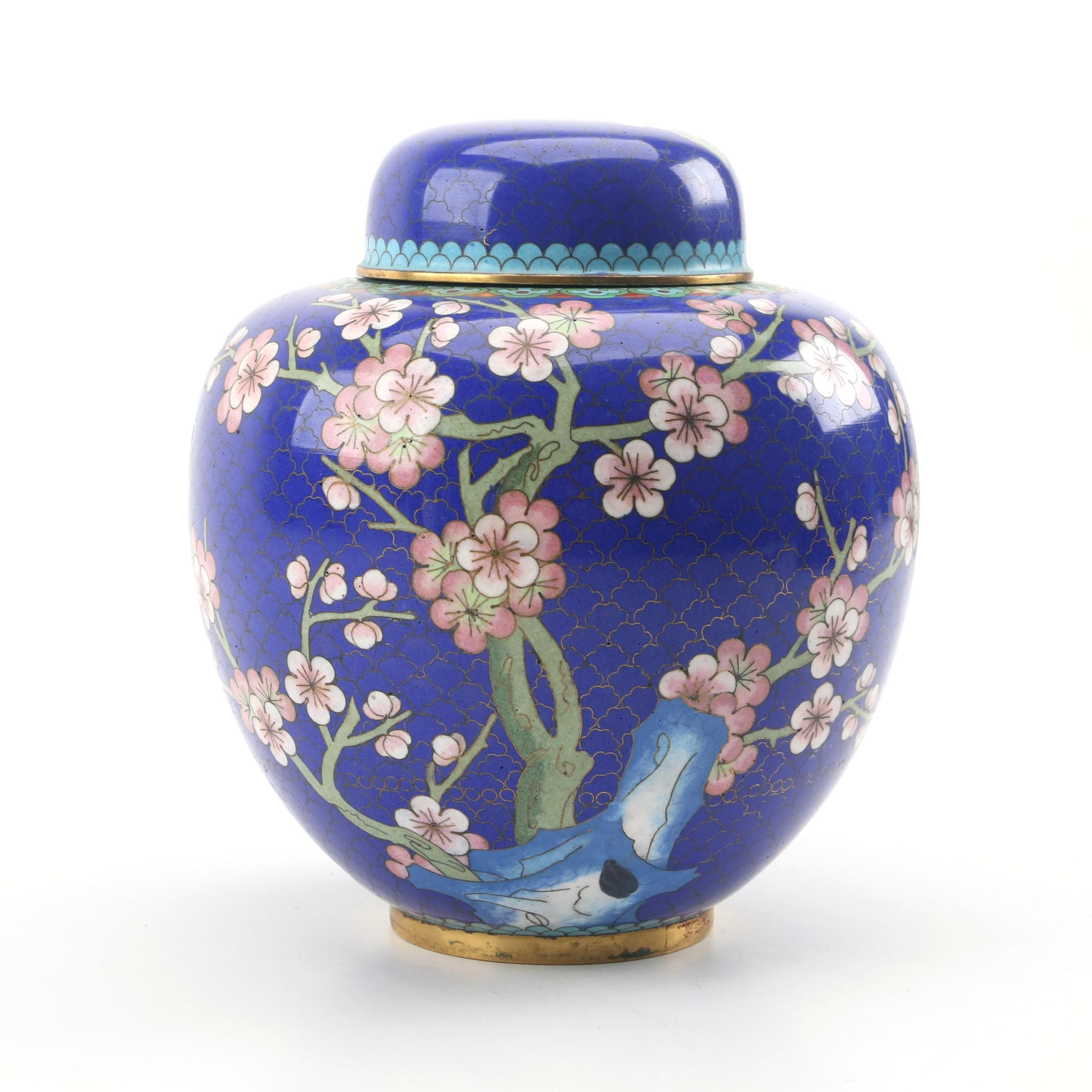 Chinese Plum Blossom Cloisonné Ginger Jar
