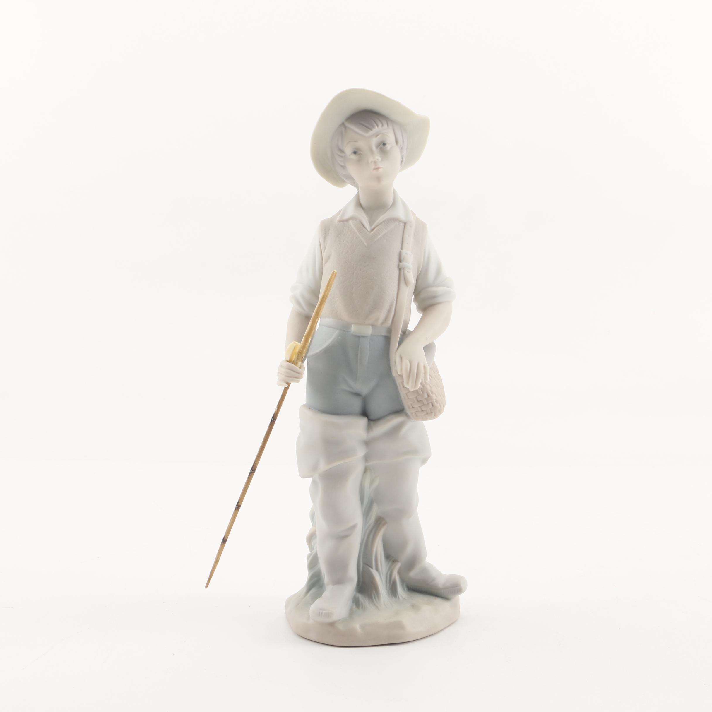 """Lladró """"Fisher Boy"""" Matte Porcelain Figurine"""