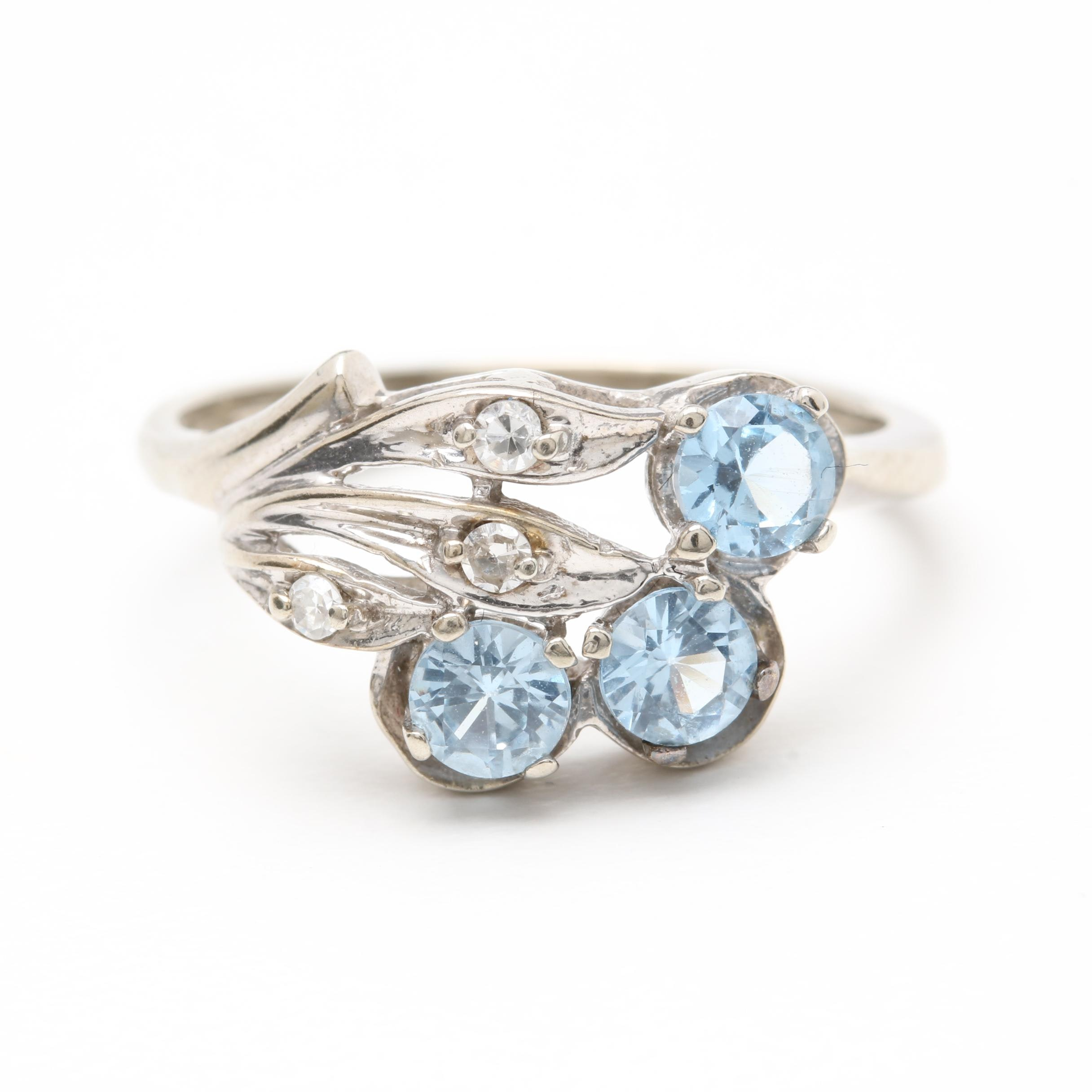 10K White Gold Synthetic Blue Spinel and Diamond Ring