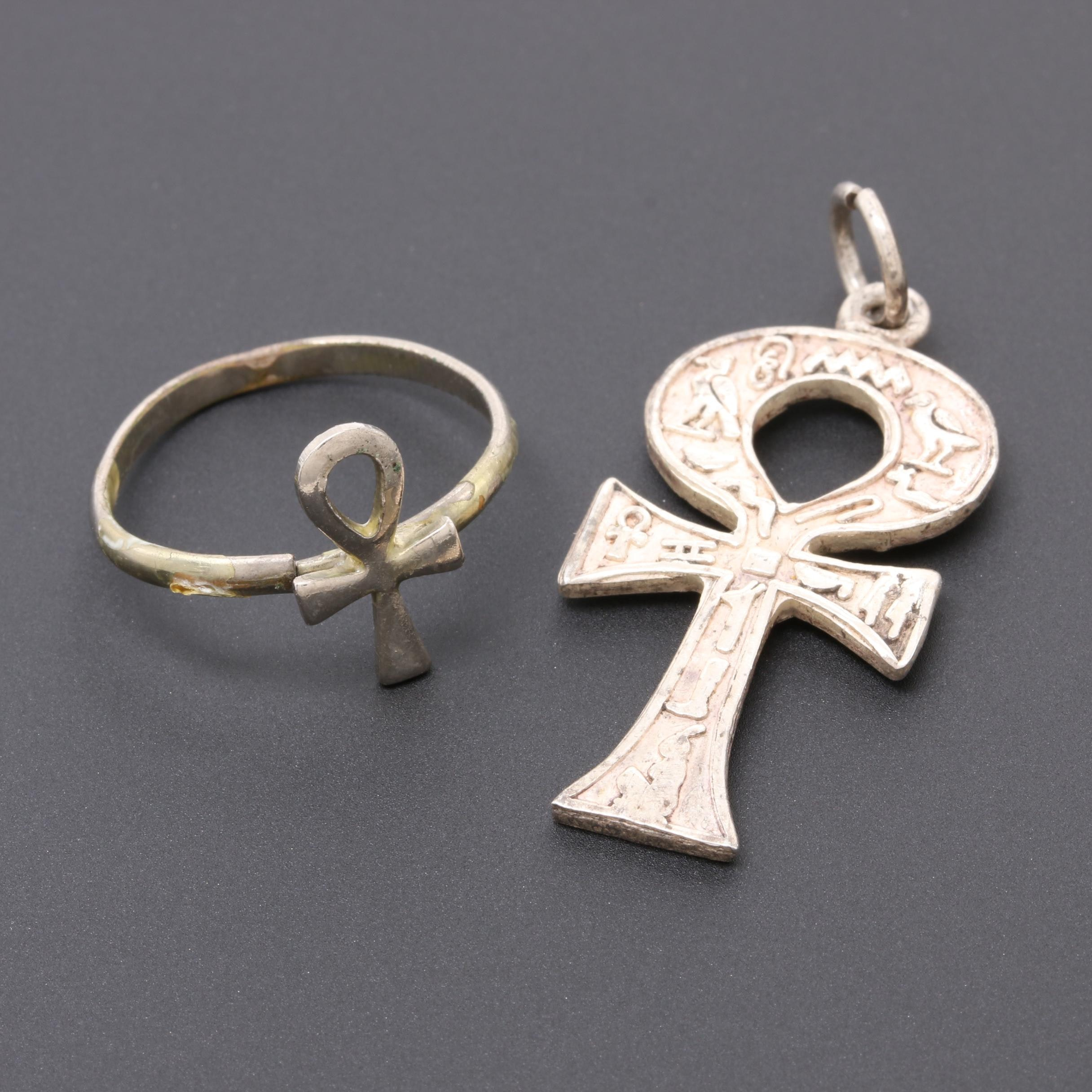 850 Silver Hieroglyphic Ankh Pendant and Base Metal Ring