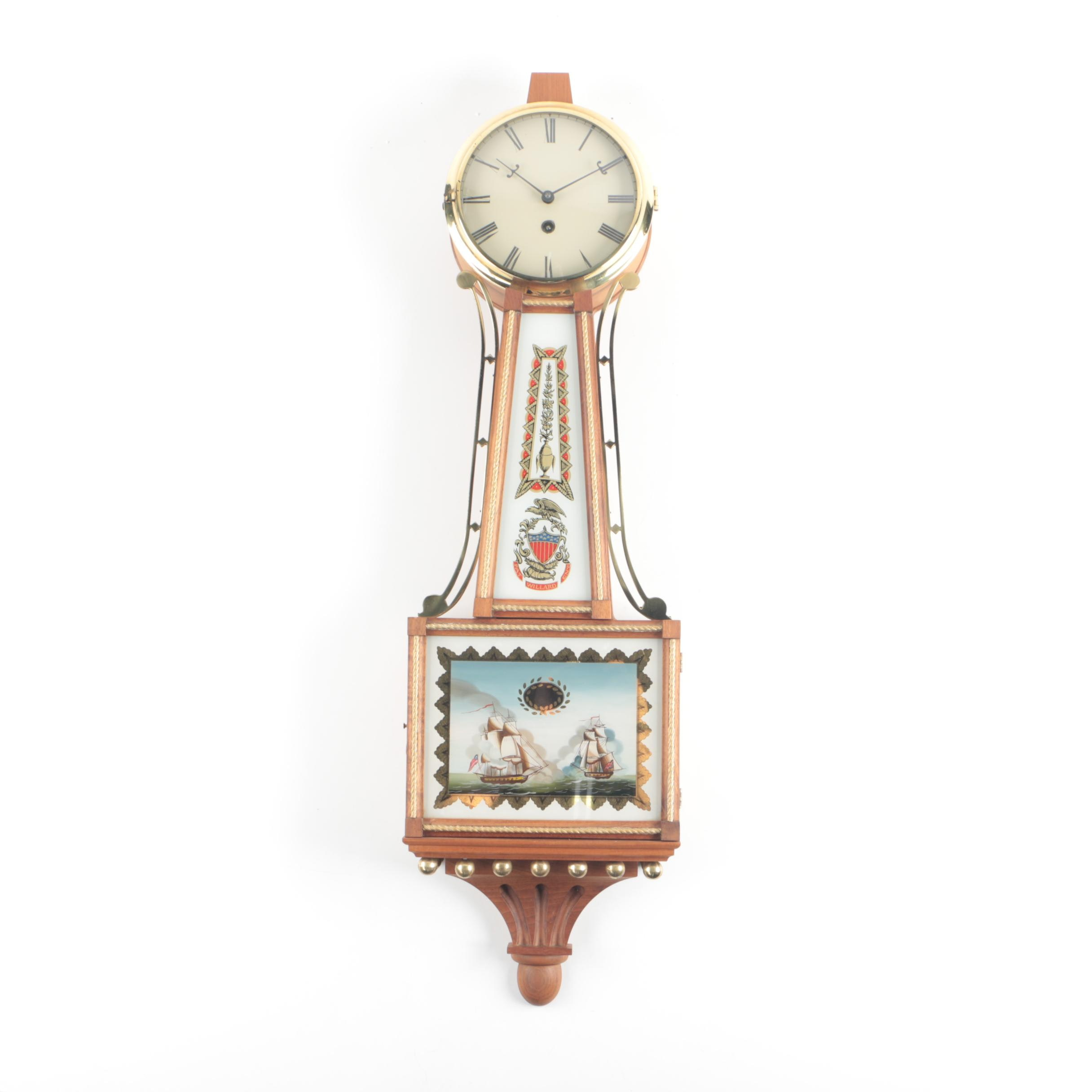 Reproduction Willard Patent Banjo Wall Clock with Reverse Glass Painting
