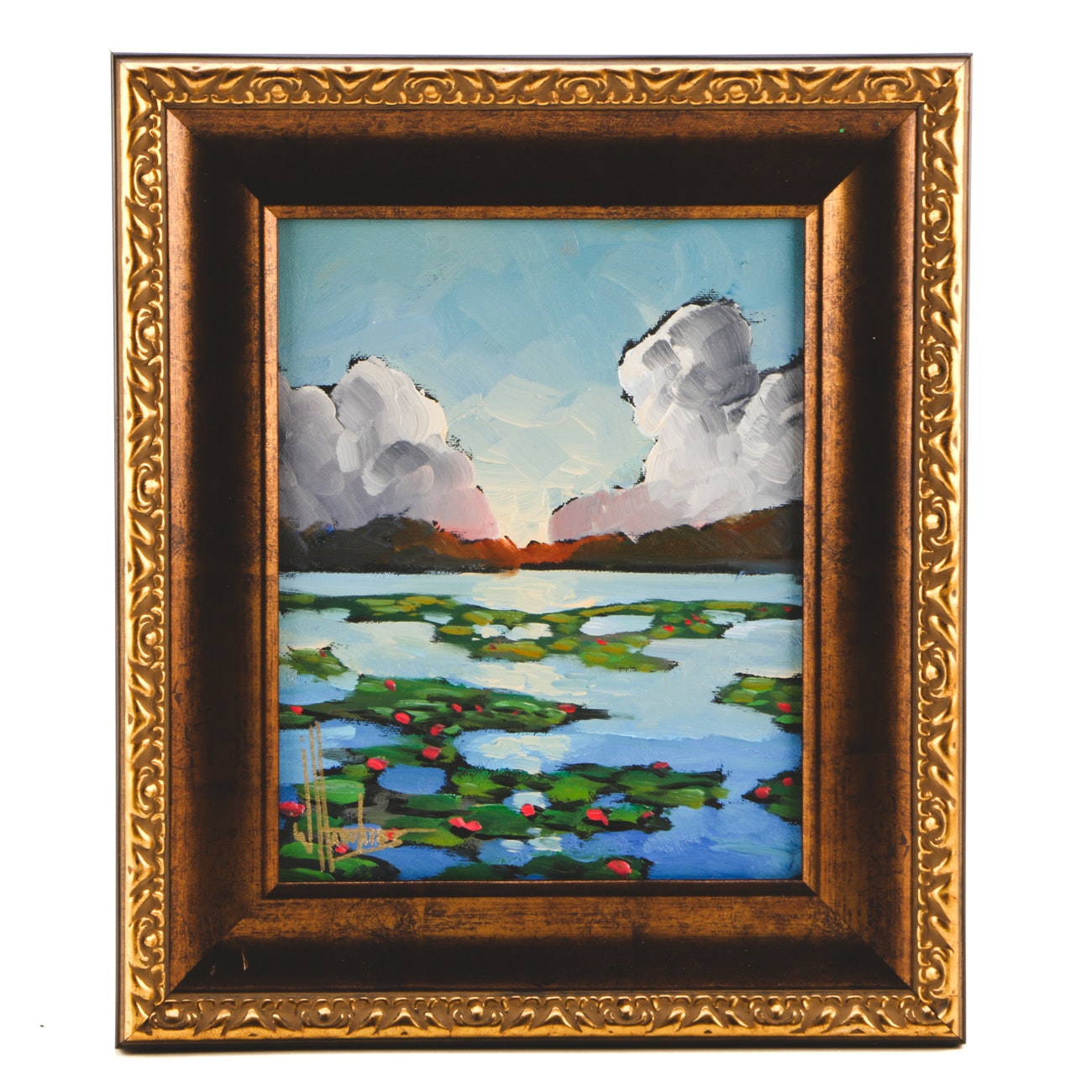 William Hawkins Oil Painting on Canvas Board of Lake with Water Lilies